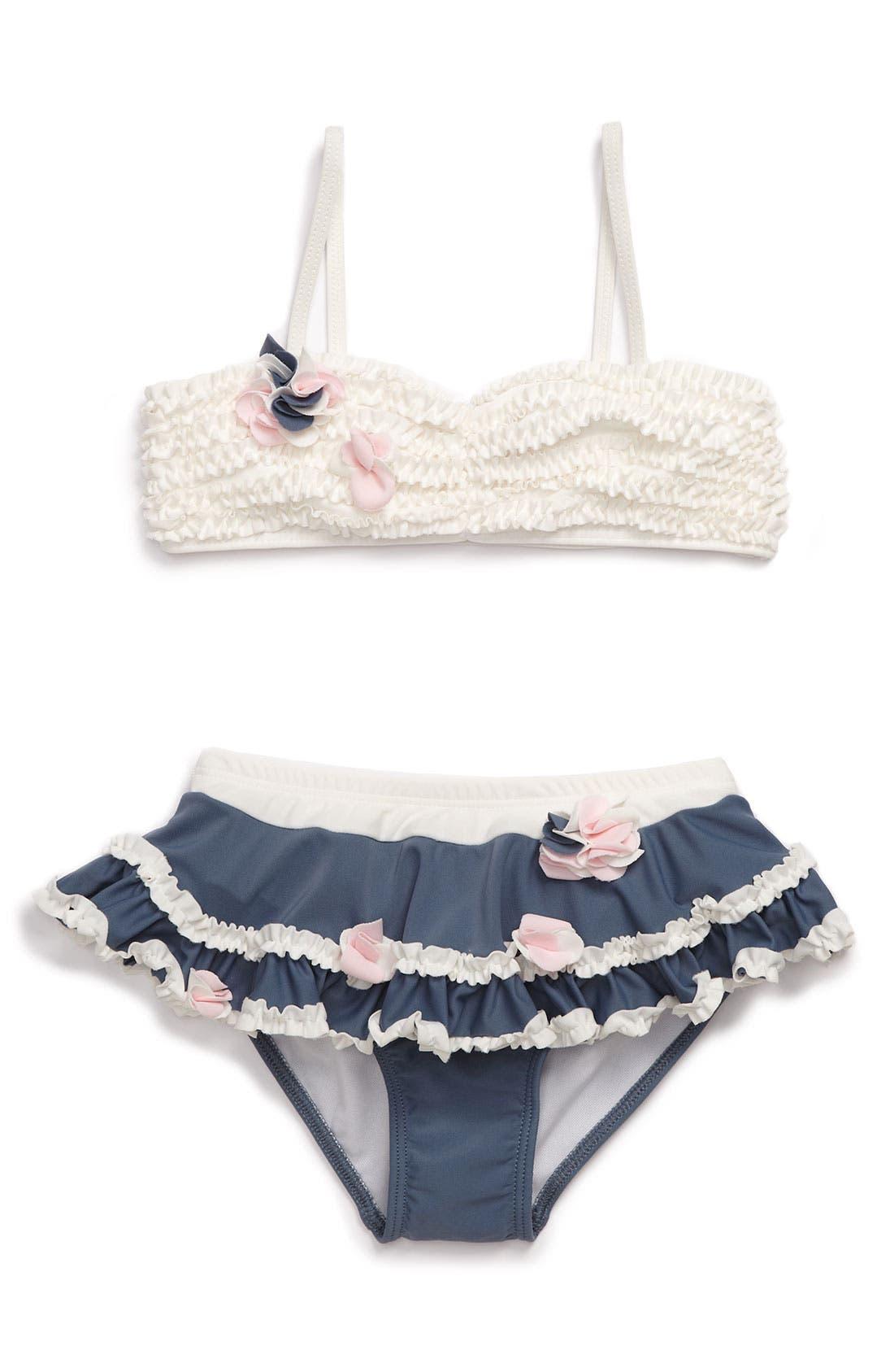 Alternate Image 1 Selected - Isobella & Chloe Ruffle Bandeau Two Piece Swimsuit (Little Girls)