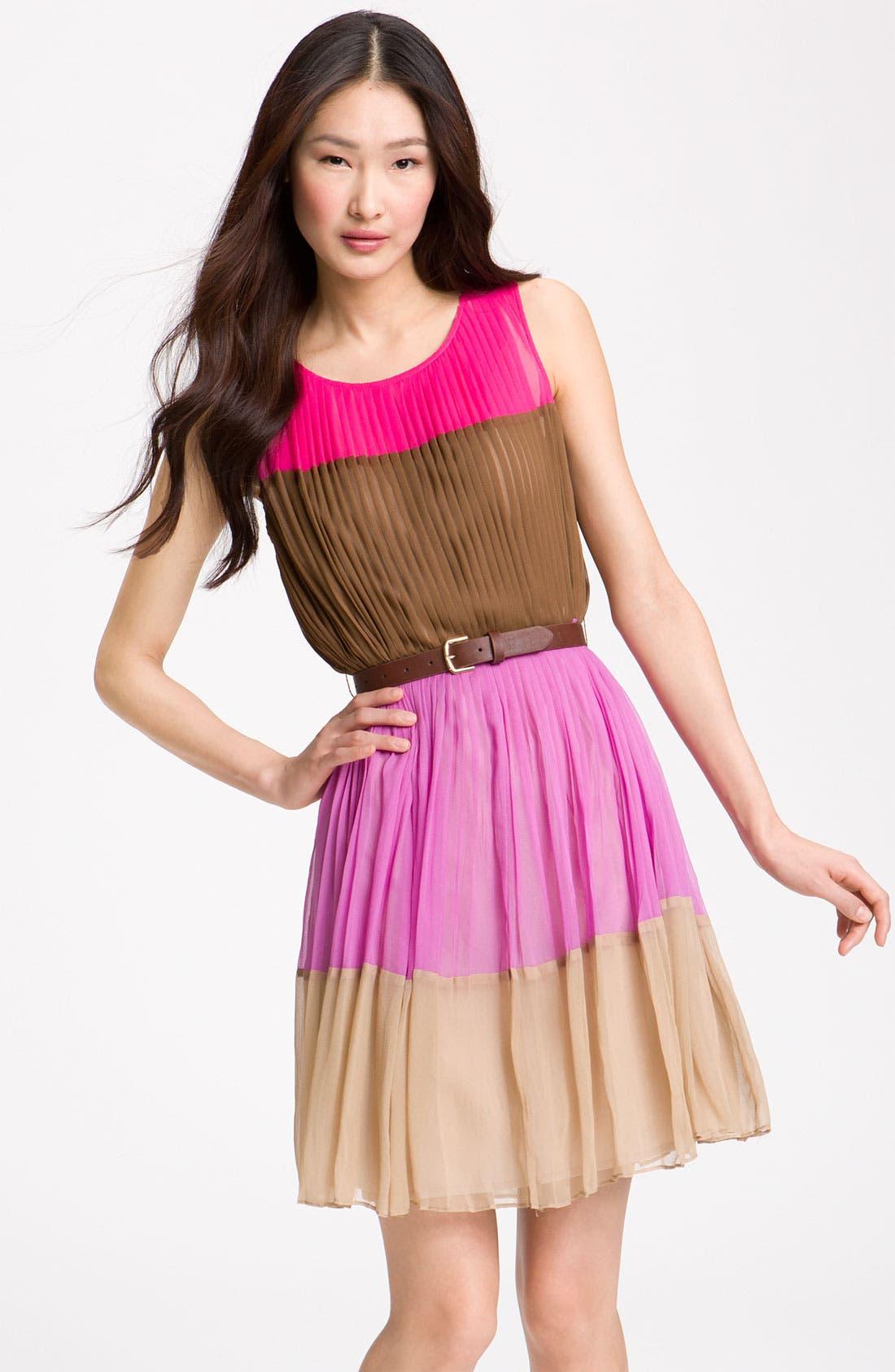 Alternate Image 1 Selected - Julie Dillon Colorblock Chiffon Dress