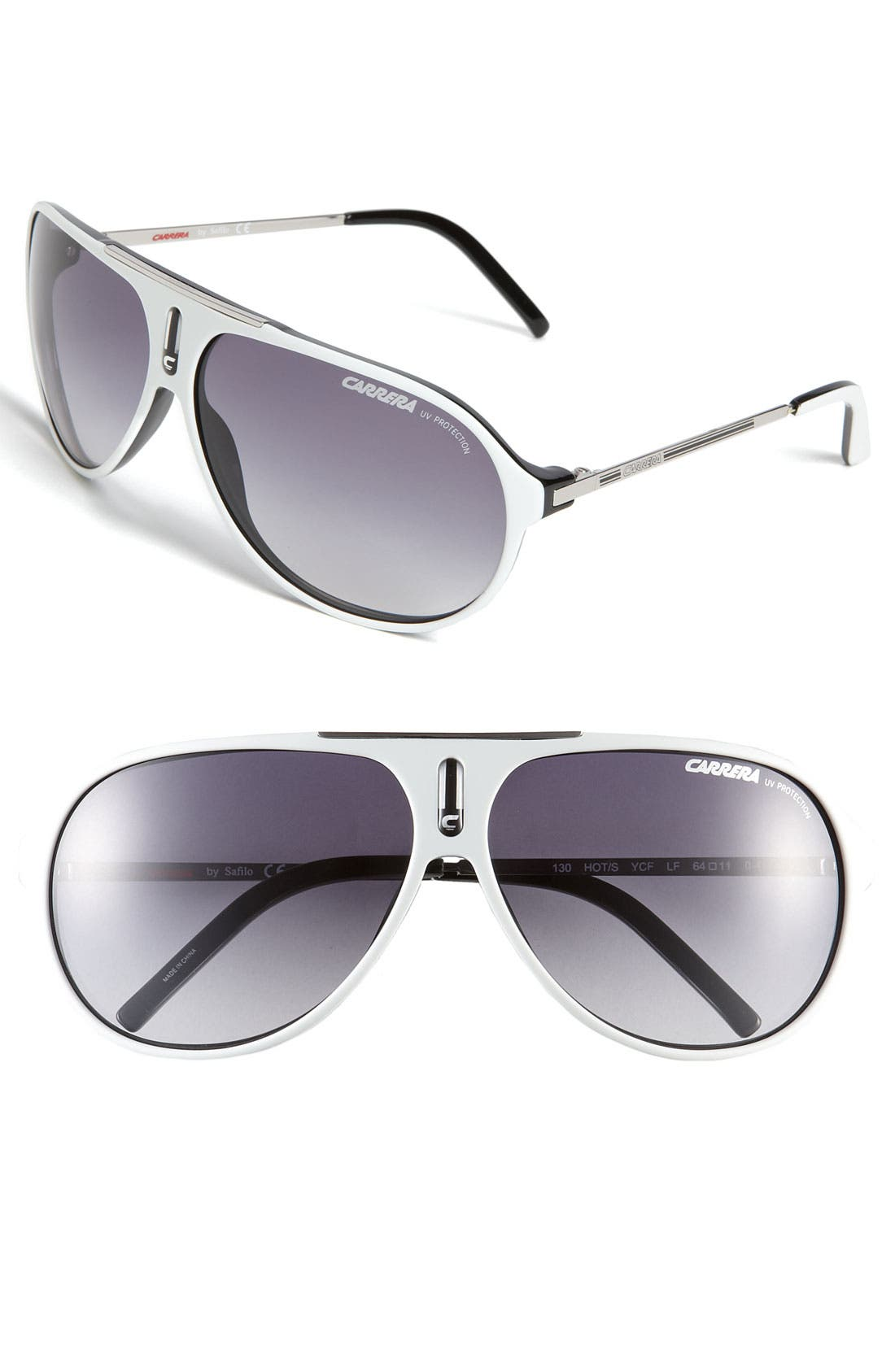 'Hots' 64mm Aviator Sunglasses,                             Main thumbnail 1, color,                             White