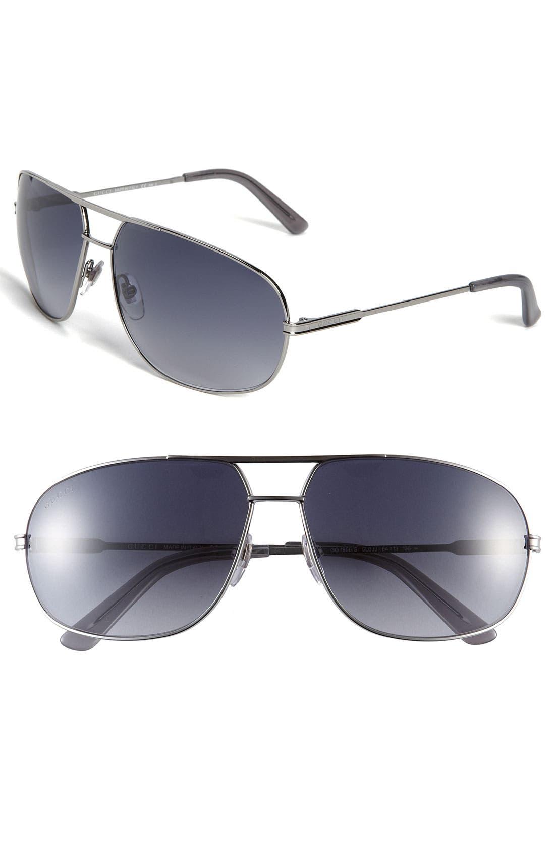 Alternate Image 1 Selected - Gucci Metal 64mm Aviator Sunglasses