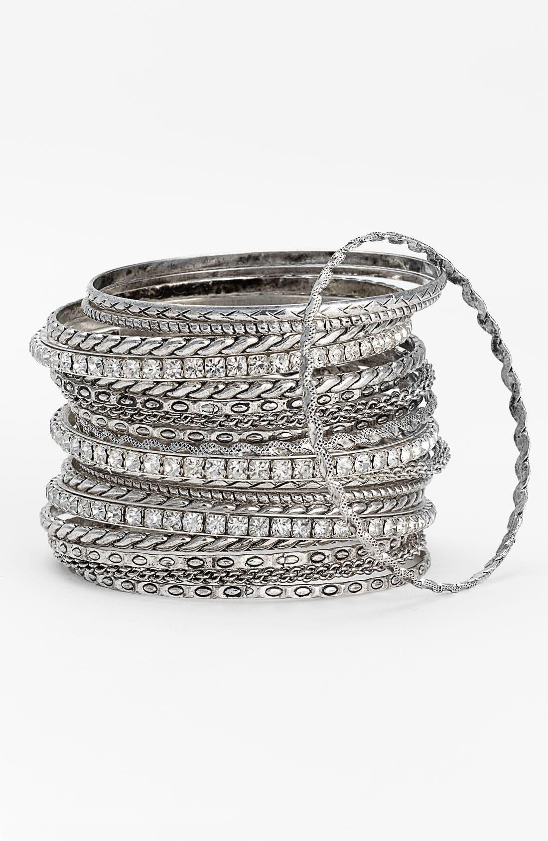 Main Image - Cara Accessories Metal & Crystal Bangles (Set of 24)