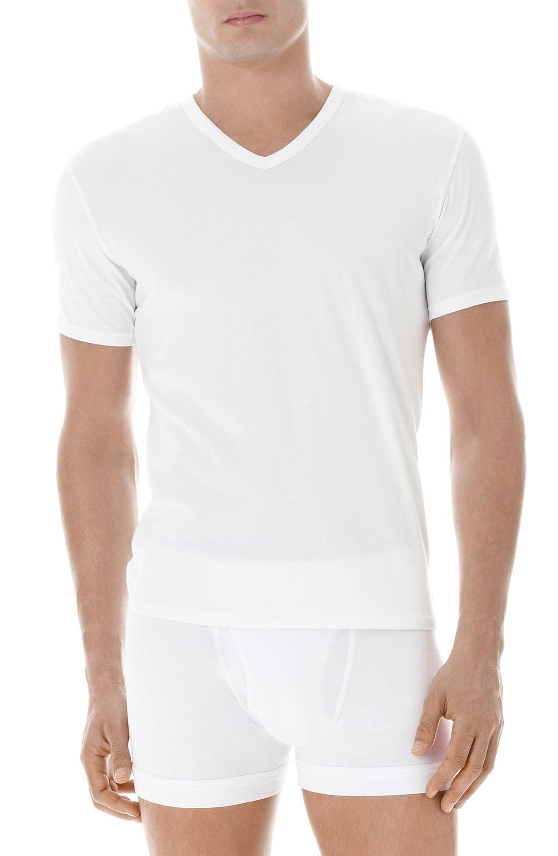 Alternate Image 1 Selected - Calvin Klein Stretch Cotton V-Neck T-Shirt (2-Pack)