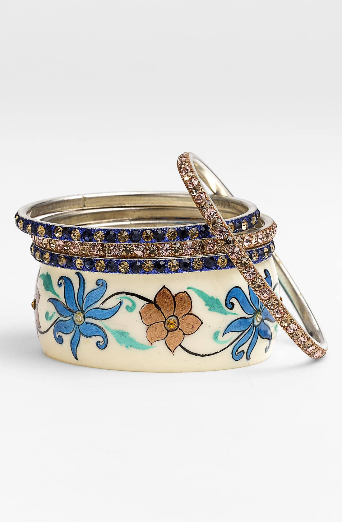 Alternate Image 1 Selected - Chamak by Priya Kakkar Floral Bangles (Set of 5)