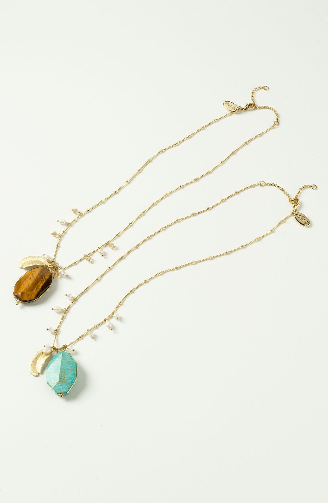 Alternate Image 2  - Cara Accessories Semiprecious Oval Pendant Necklace