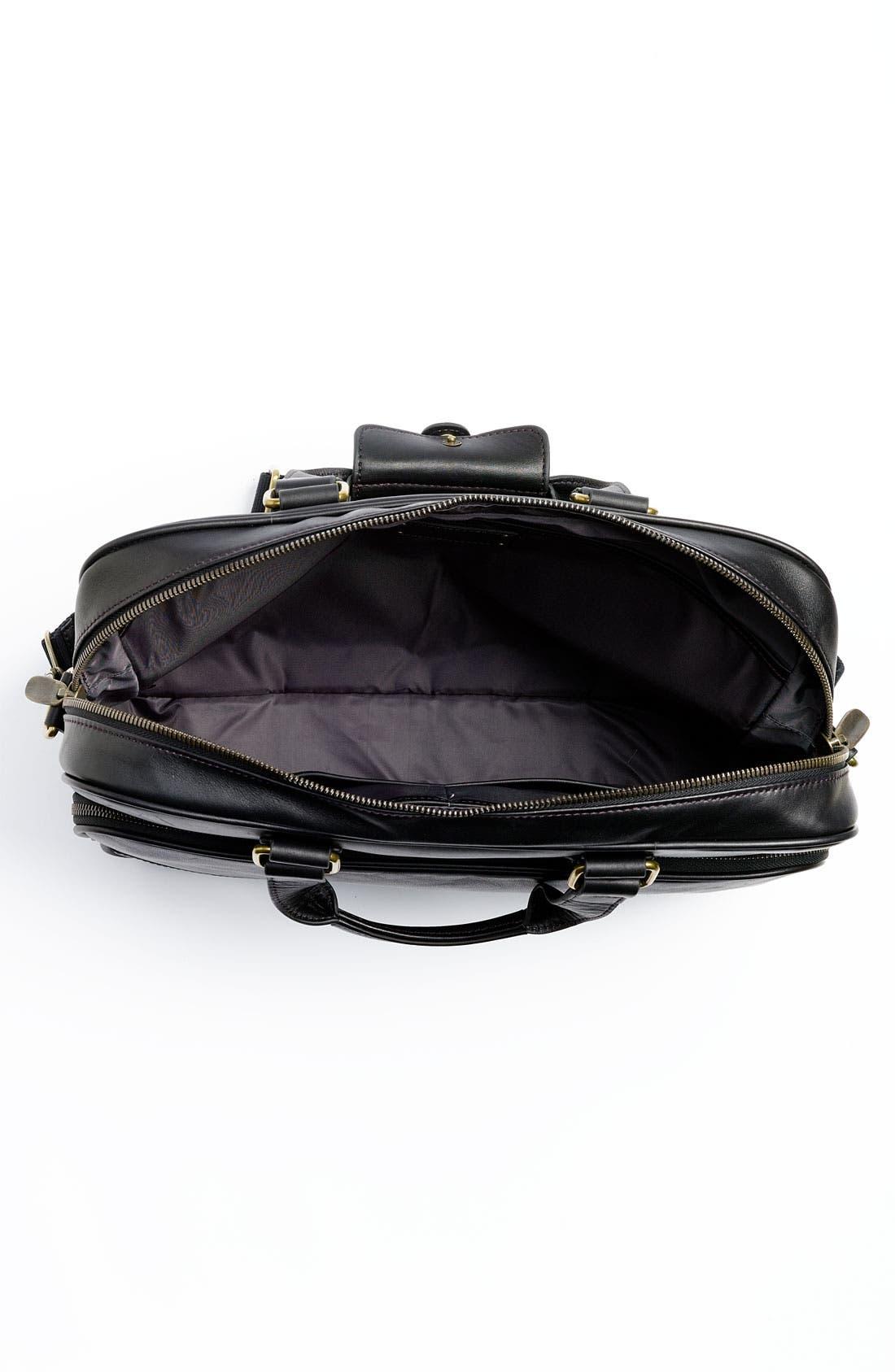 Top Zip Leather Briefcase,                             Alternate thumbnail 3, color,                             Black