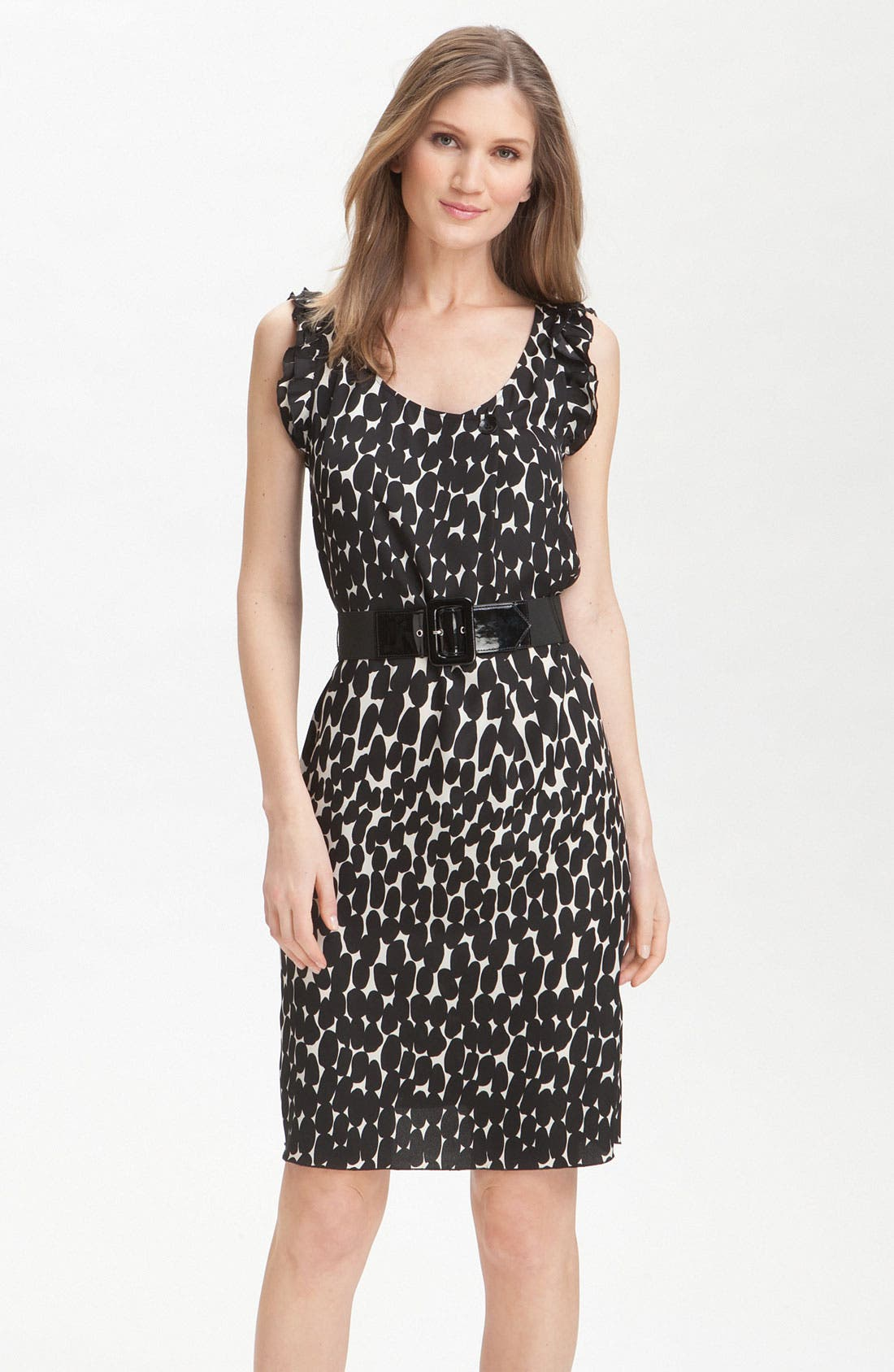 Main Image - Tahari by Arthur S. Levine Flutter Sleeve Belted Crêpe de Chine Dress