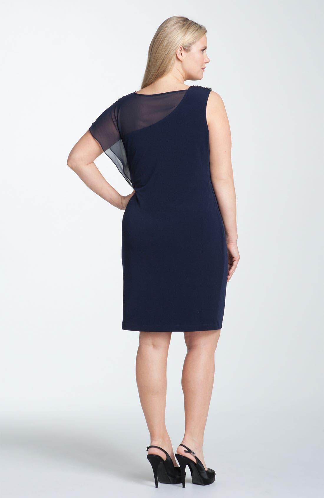 Alternate Image 2  - Calvin Klein Embellished Matte Jersey & Chiffon Dress (Plus Size)