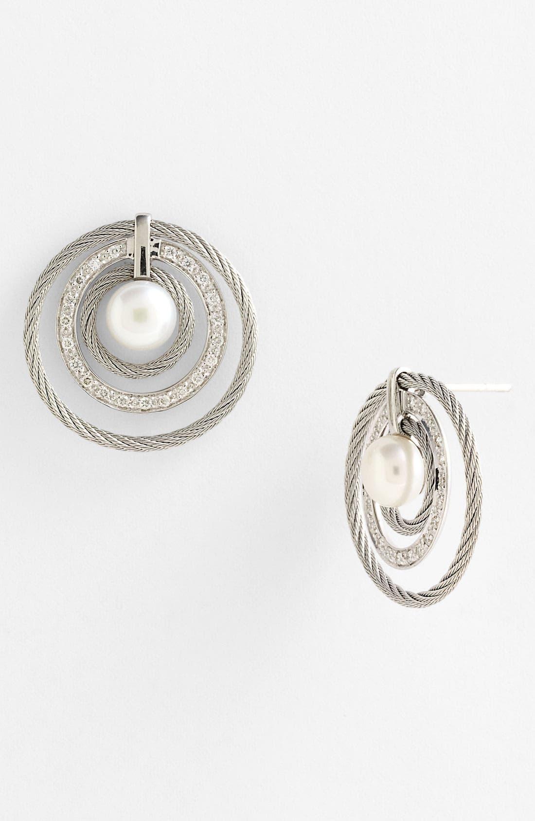 Alternate Image 1 Selected - ALOR® Pearl & Diamond Earrings