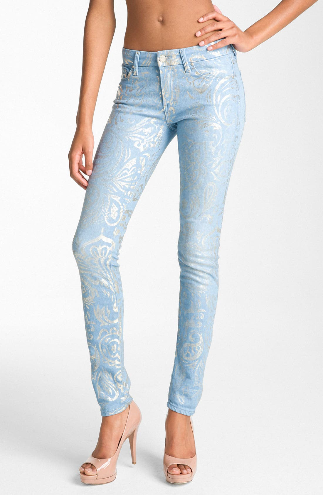 Alternate Image 2  - MOTHER 'The Looker' Metallic Print Skinny Jeans (Gold Rush)