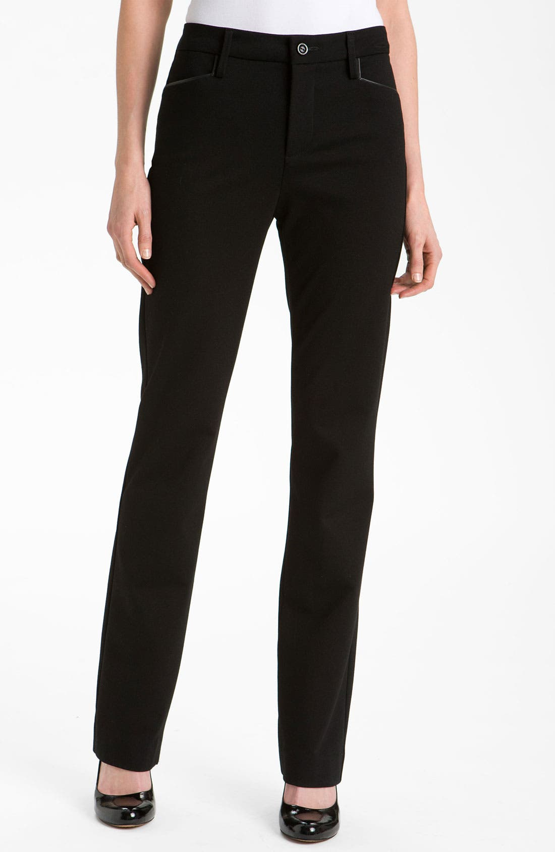 Main Image - NYDJ 'Ryan' Faux Leather Trim Ponte Trousers
