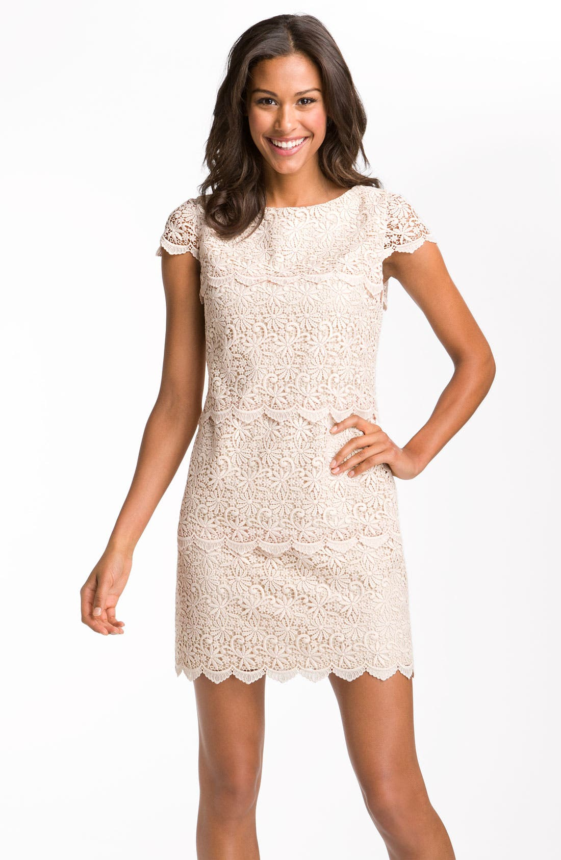 Alternate Image 1 Selected - Eliza J Tiered Lace Overlay Shift Dress