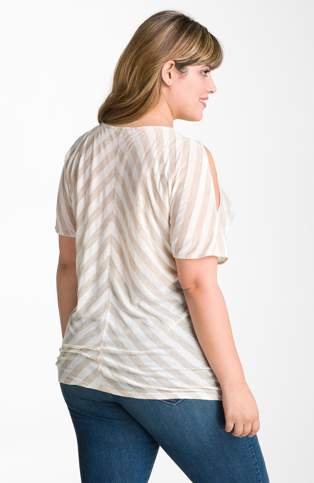 Alternate Image 2  - Gibson Stripe Cold Shoulder Top (Plus)