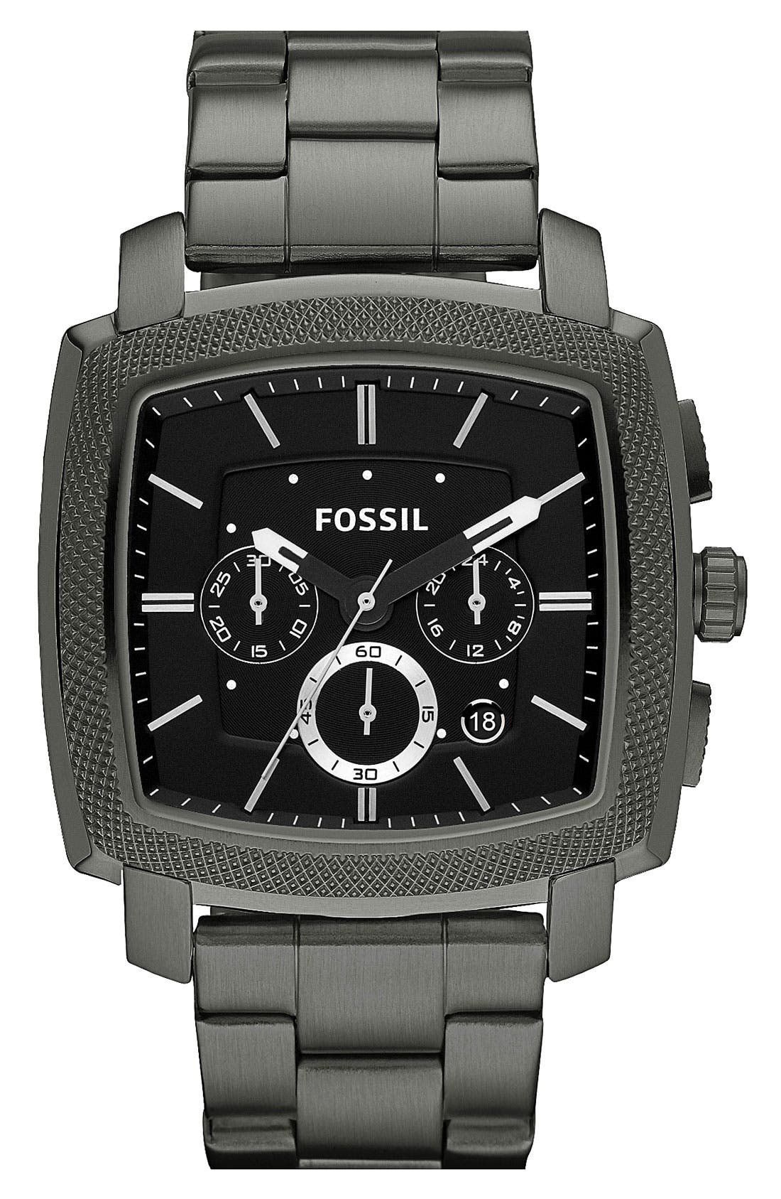 Alternate Image 1 Selected - Fossil 'Machine' Square Dial Chronograph Watch, 44mm