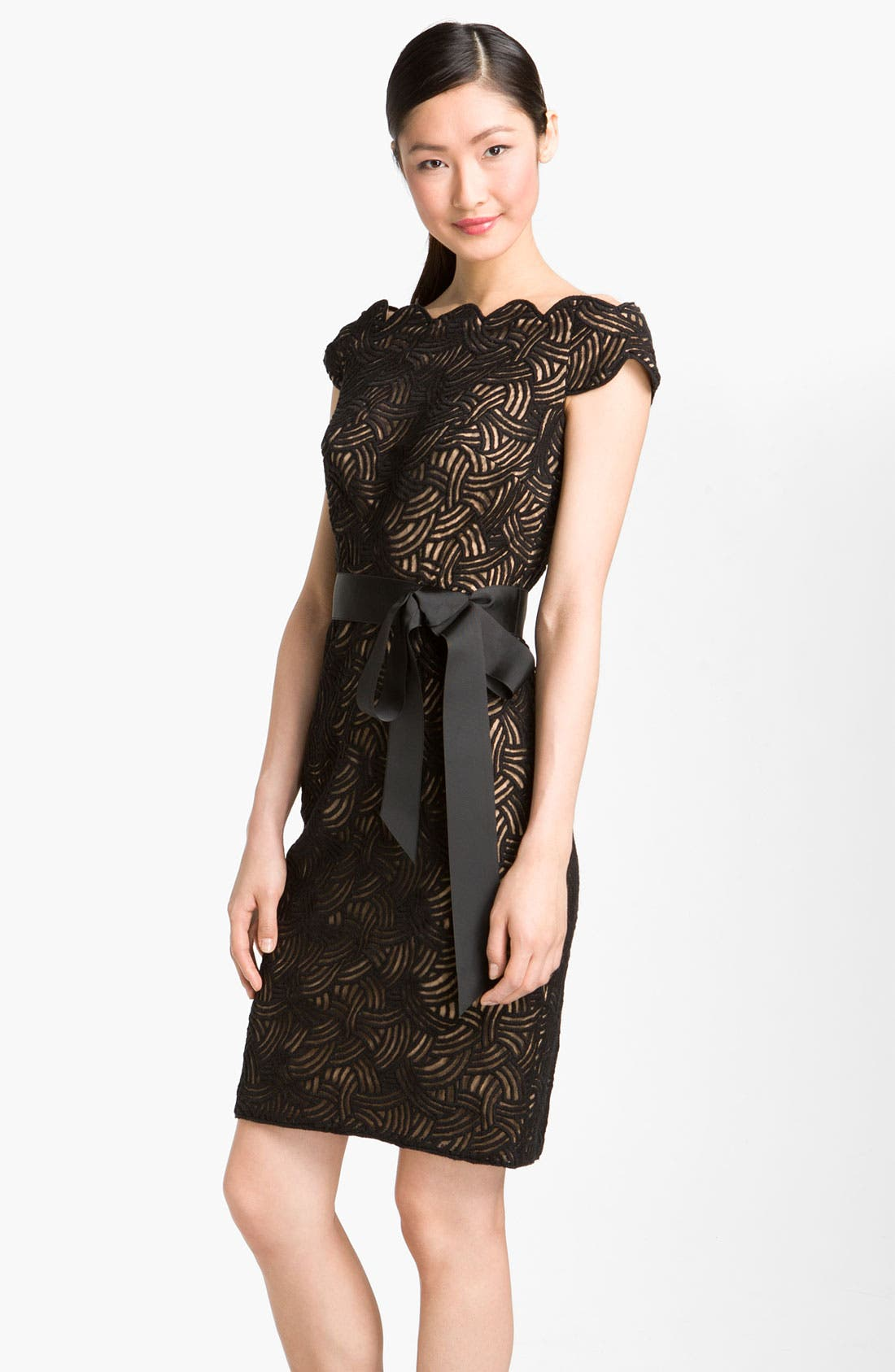 Main Image - Tadashi Shoji Embroidered Mesh Overlay Sheath Dress