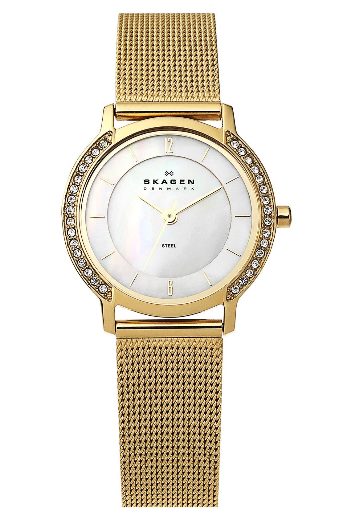 Main Image - Skagen Round Crystal Mesh Strap Watch