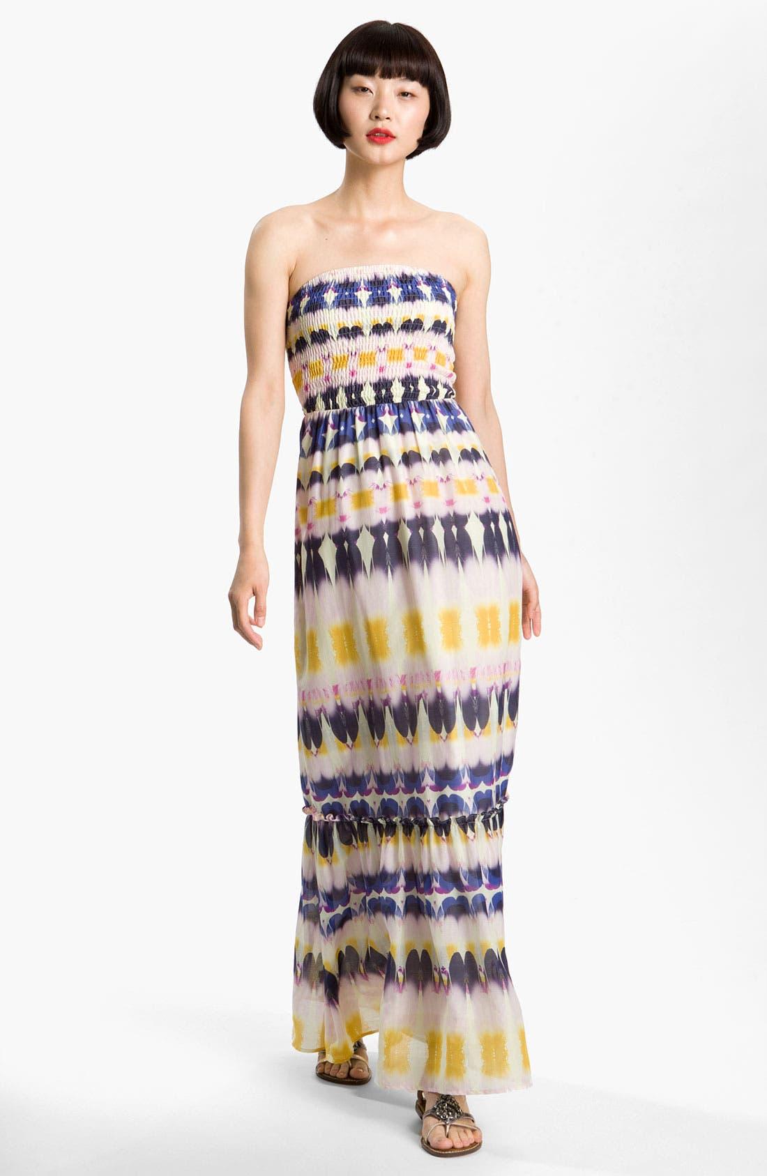 Main Image - Presley Skye Smocked Bodice Print Maxi Dress