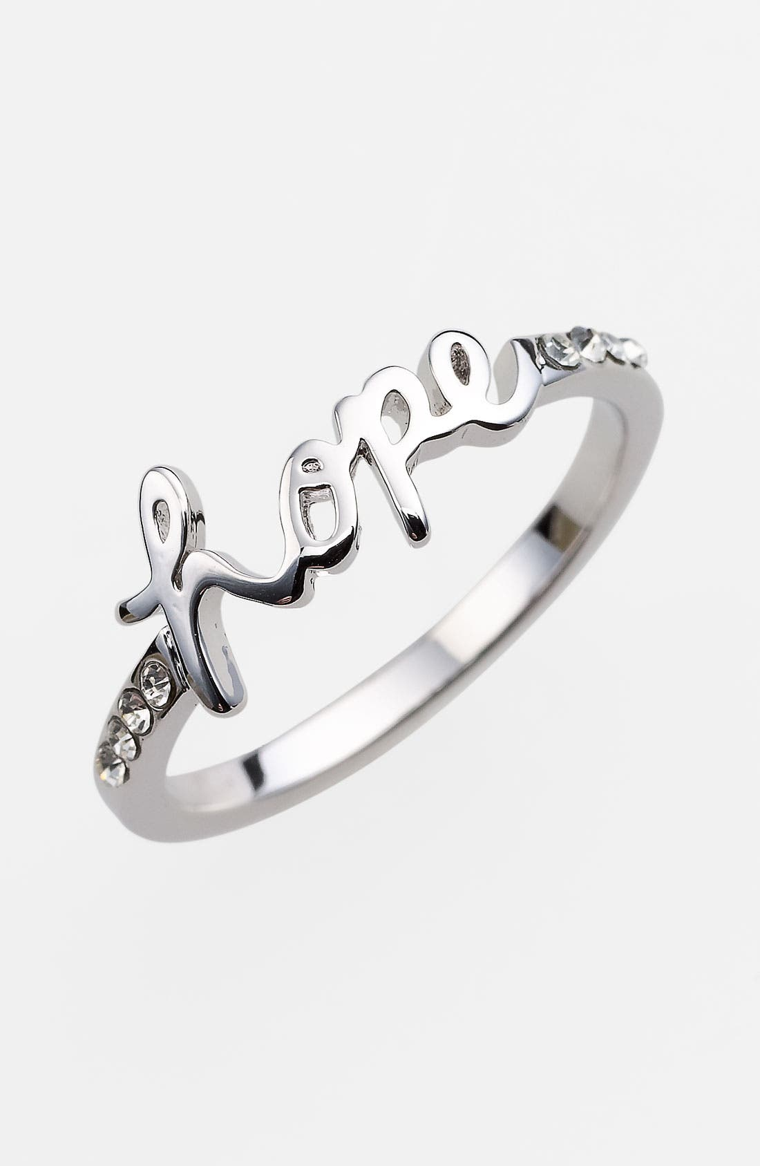 'Messages - Hope' Script Ring,                         Main,                         color, Hope- Silver