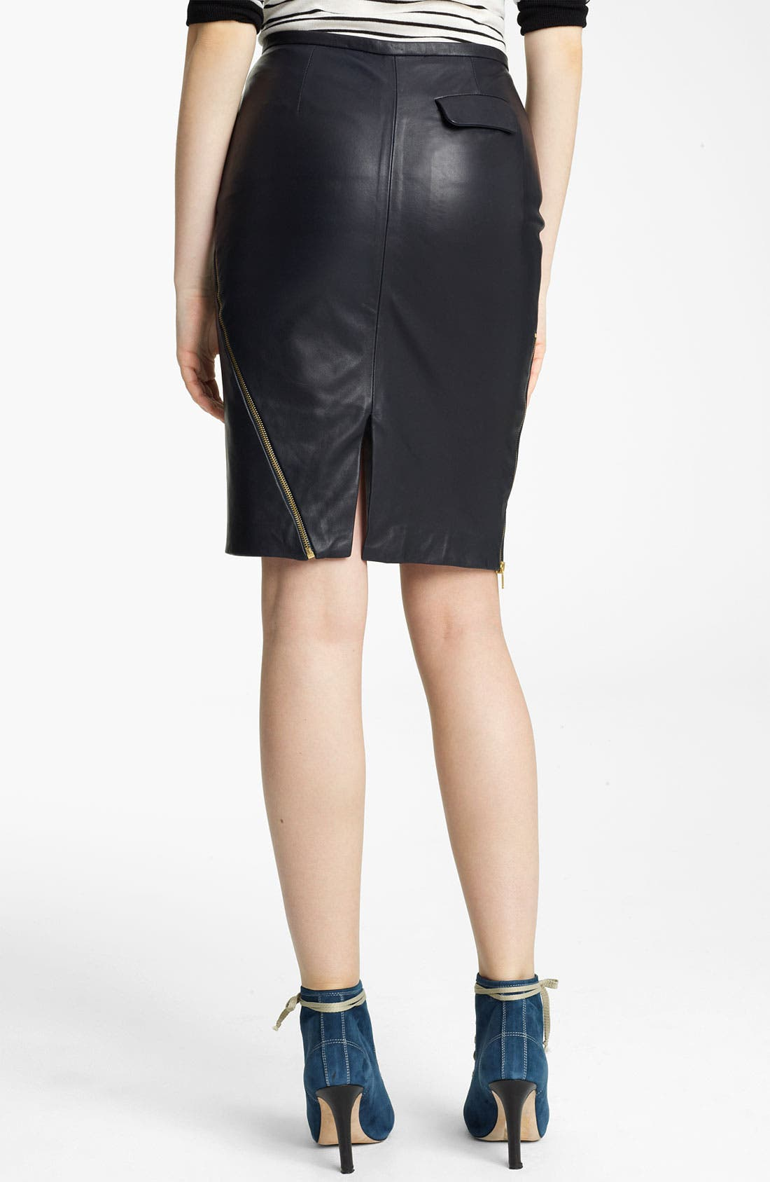 Alternate Image 2  - Band of Outsiders Leather Pencil Skirt