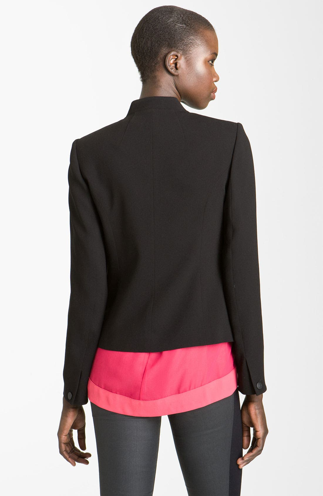 'Pascal' Leather Panel Crepe Jacket,                             Alternate thumbnail 2, color,                             Black