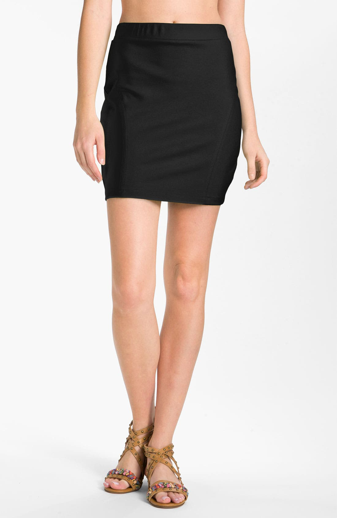 Main Image - LMK Seamed Stretch Knit Miniskirt
