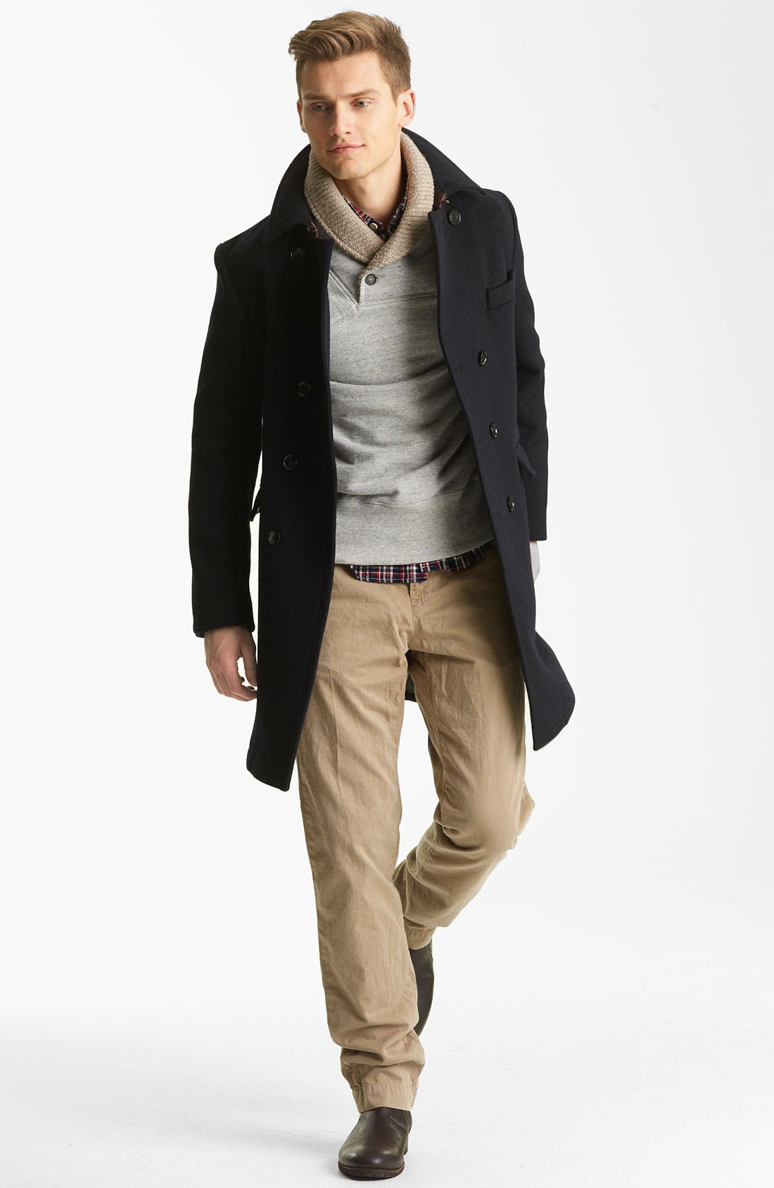 Main Image - Billy Reid Coat, Shawl Collar Sweatshirt, Woven Shirt & Mason's Pants