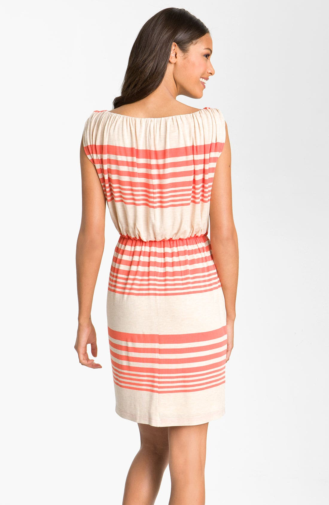 Stripe Jersey Blouson Dress,                             Alternate thumbnail 2, color,                             Oatmeal/ Tango