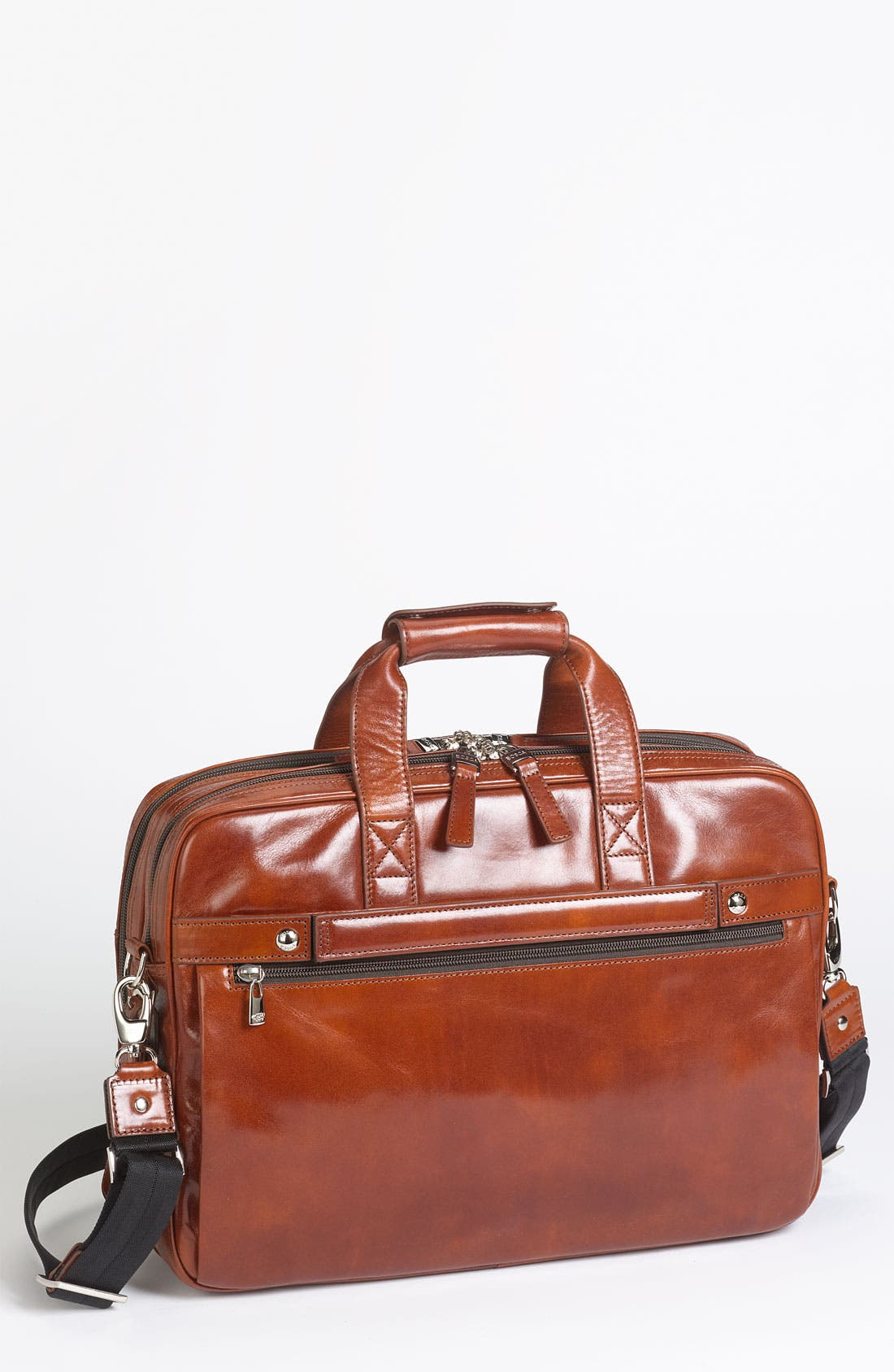 Double Compartment Leather Briefcase,                         Main,                         color, Amber