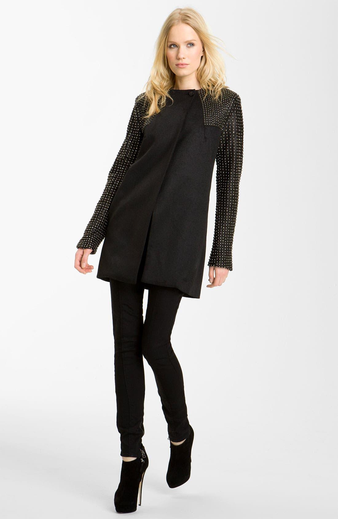 Stud Detail Coat,                         Main,                         color, Black