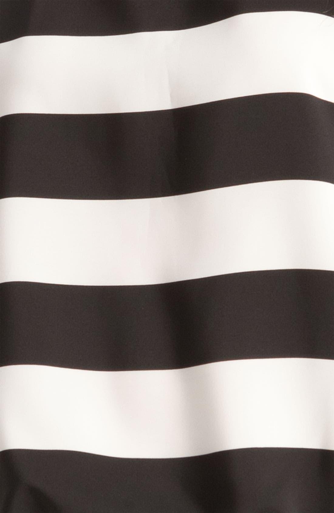 Stripe Blouse with Drawstring Hem,                             Alternate thumbnail 3, color,                             Rich Black