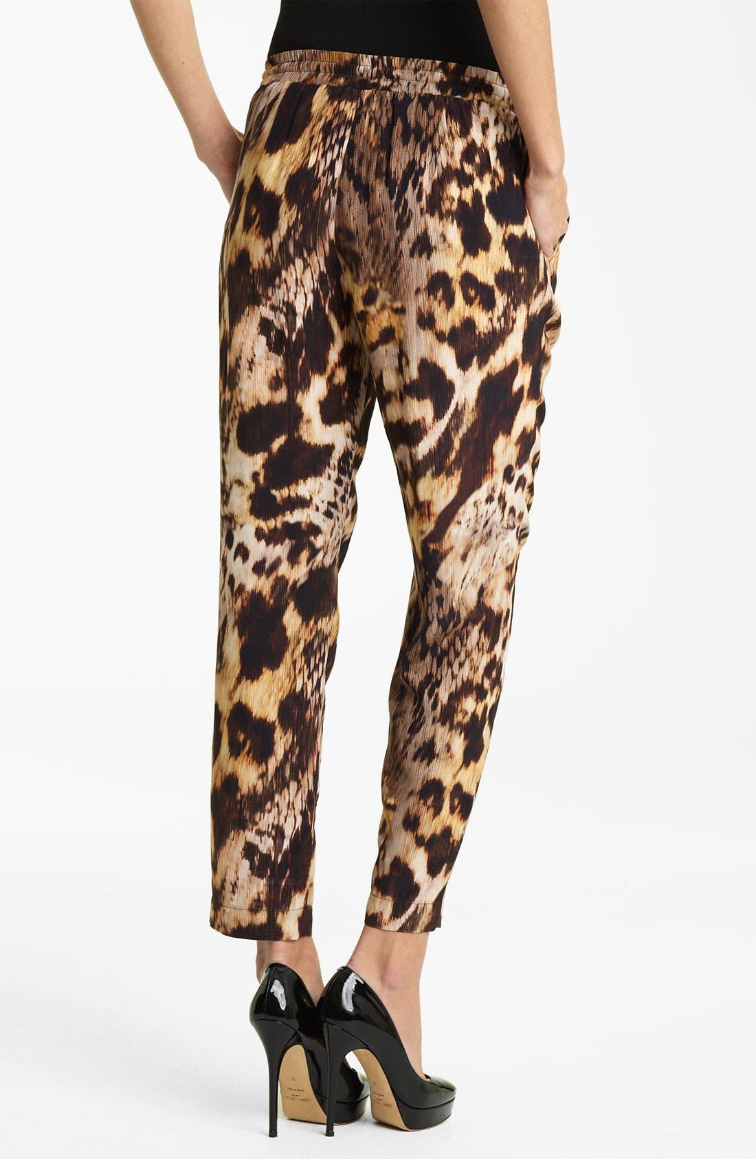 Alternate Image 2  - Yigal Azrouël Leopard Print Silk Crepe Pants