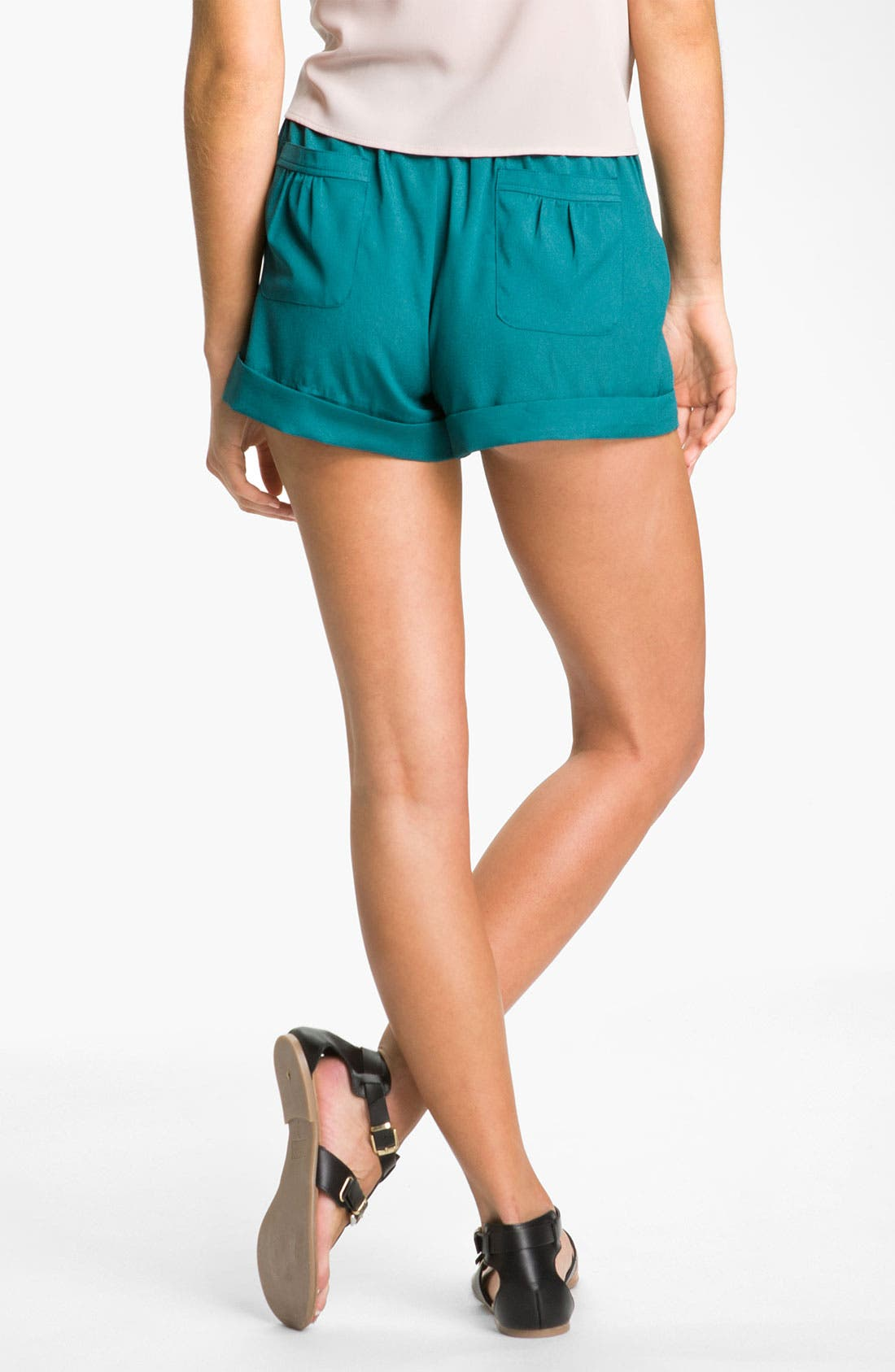 Alternate Image 2  - Mimi Chica Pleated Cuff Shorts (Juniors)