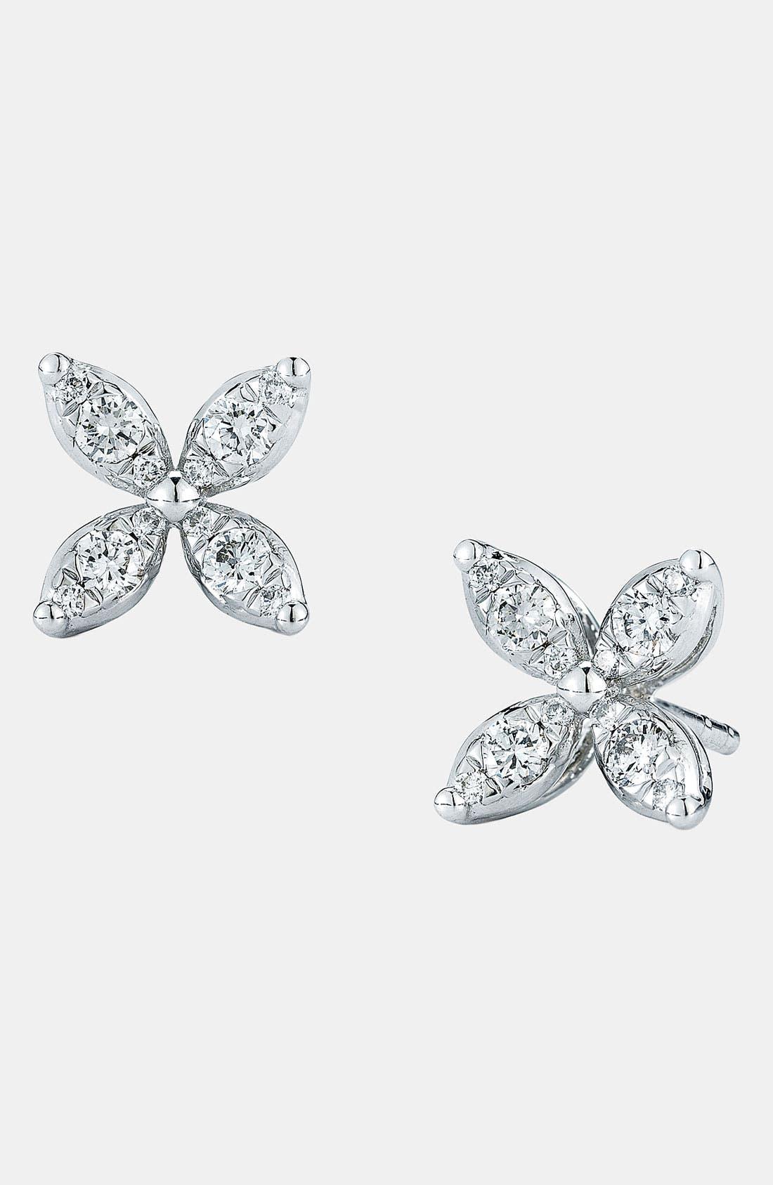 'Sunburst' Diamond Stud Earrings,                         Main,                         color, White Gold
