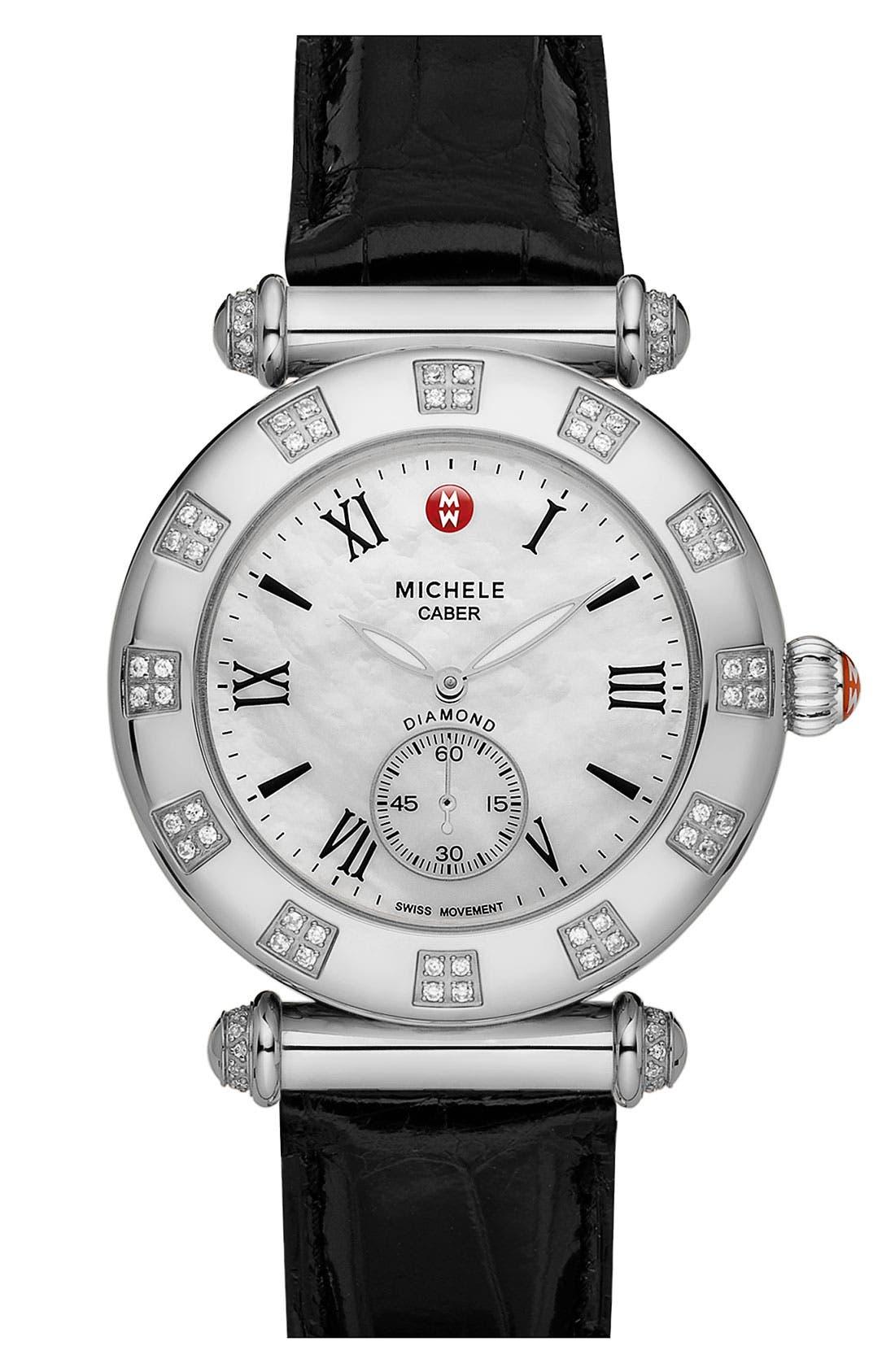 MICHELE 'Caber Atlas' Diamond Customizable Watch,                         Main,                         color, Silver