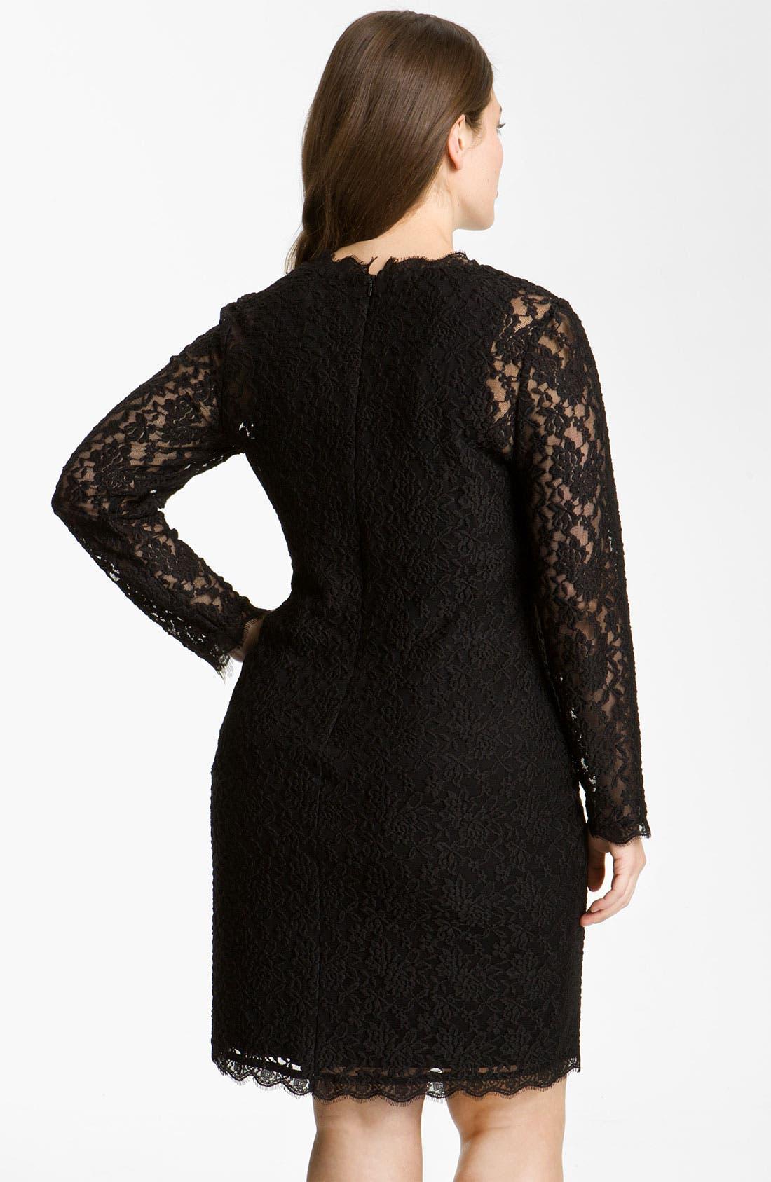 Alternate Image 2  - Adrianna Papell Lace Overlay Sheath Dress (Plus)