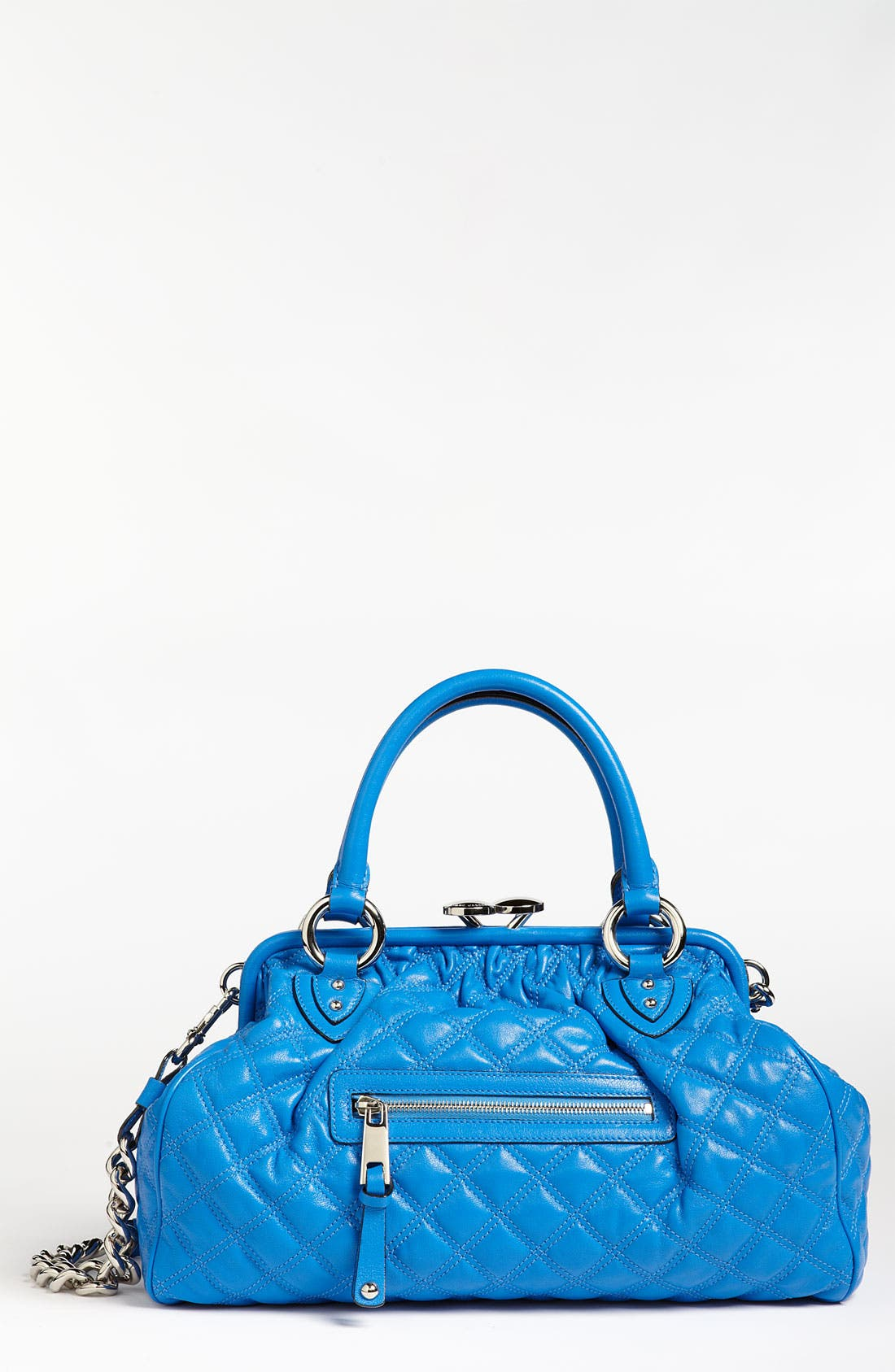 'Quilting Stam' Leather Satchel,                             Main thumbnail 1, color,                             Bluette/ Nickel