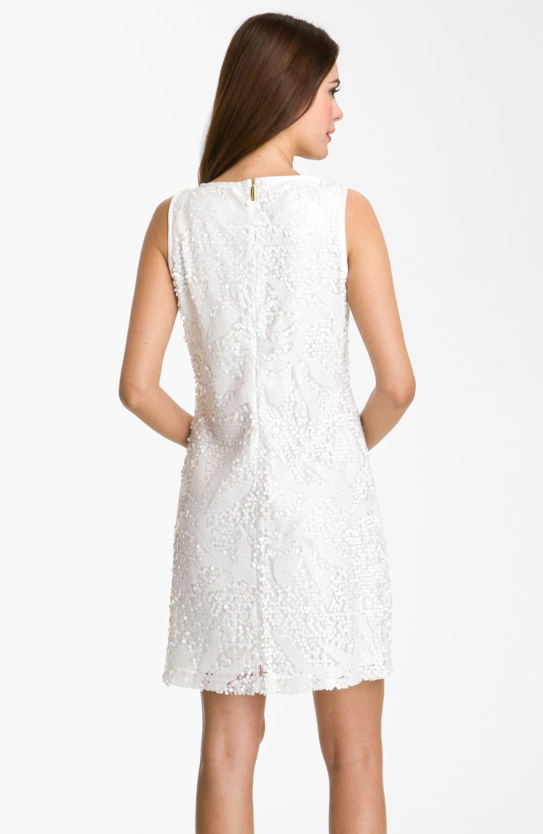 Alternate Image 2  - Donna Ricco Sleeveless Sequin Overlay A-Line Dress
