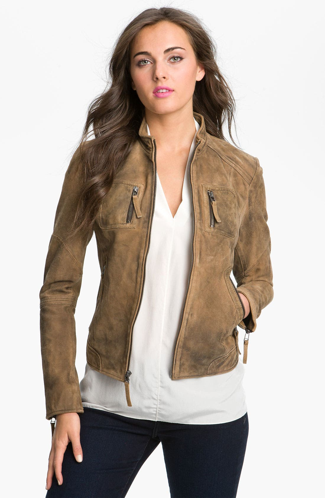 Alternate Image 1 Selected - Buffalo by David Bitton Distressed Leather Jacket (Online Only)