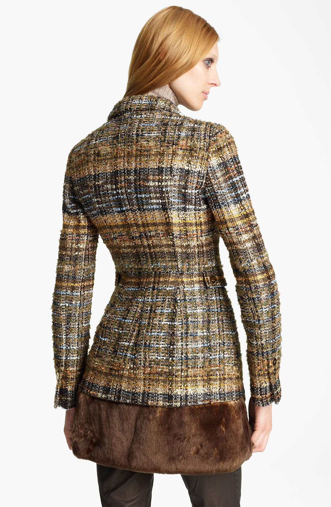 Alternate Image 2  - Blumarine Tweed Coat with Removable Faux Fur Hem