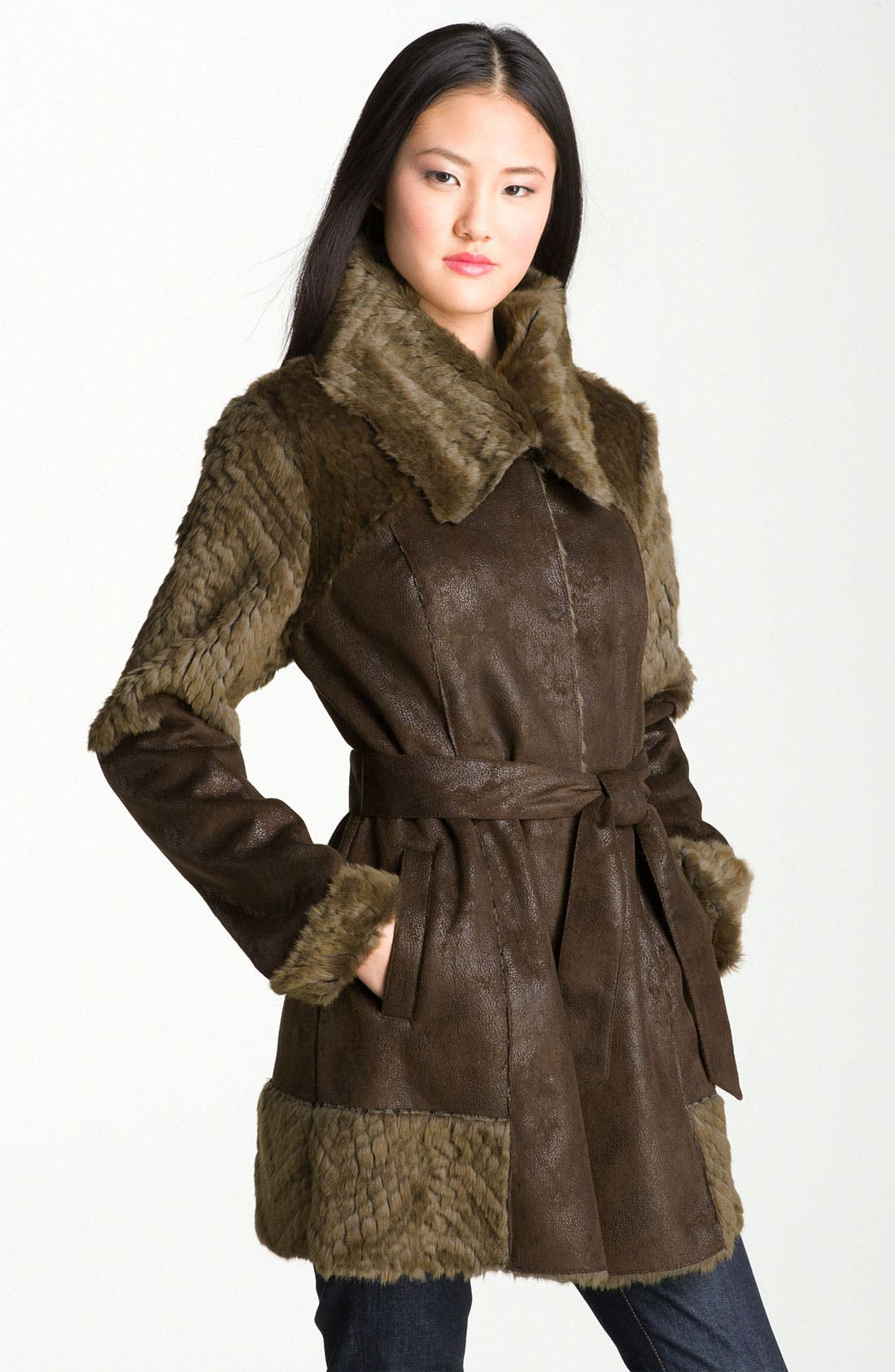 Main Image - Kenneth Cole New York Belted Faux Shearling Coat