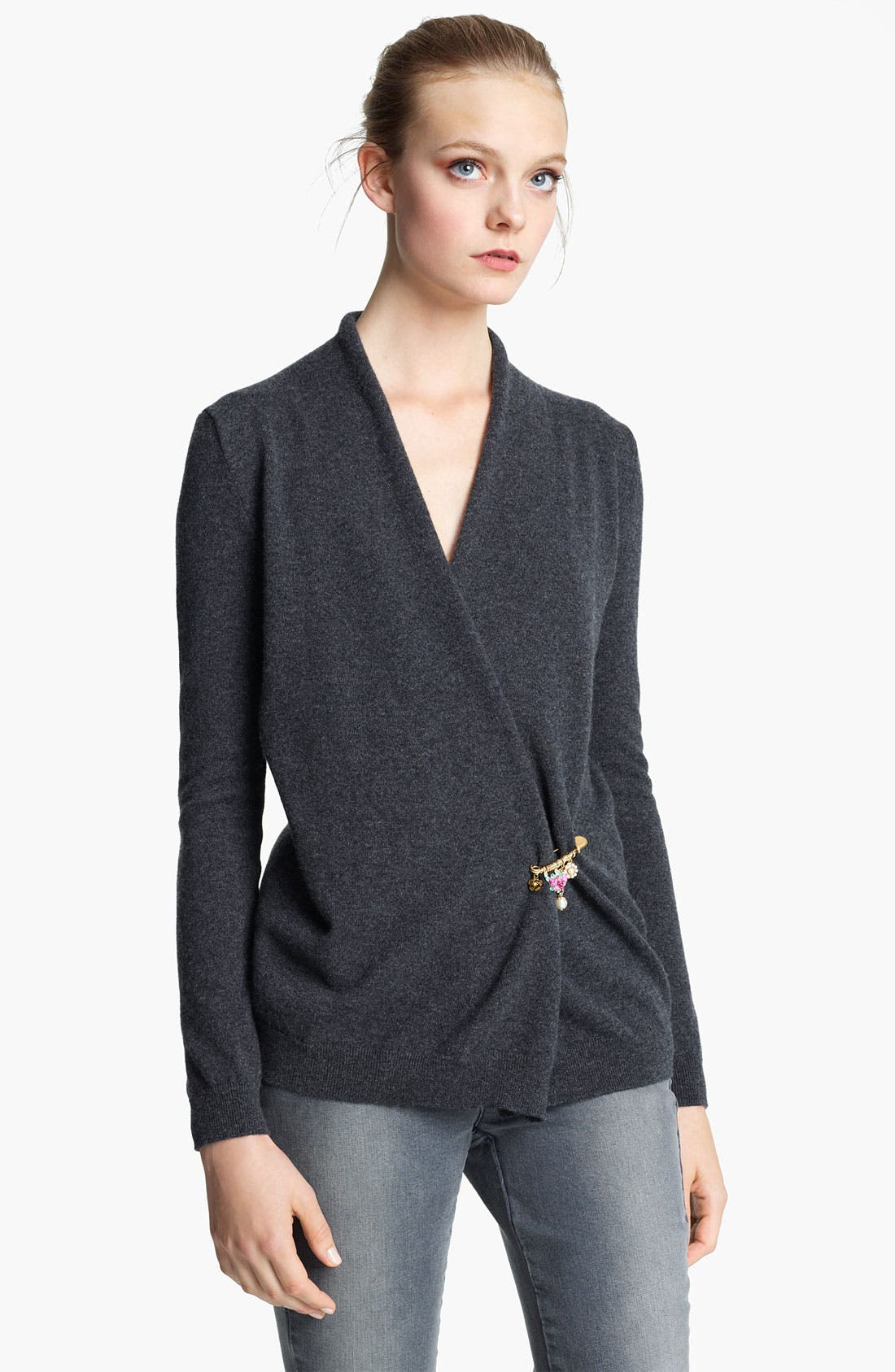 Alternate Image 1 Selected - Dolce&Gabbana Cashmere Cardigan with Embellished Pin