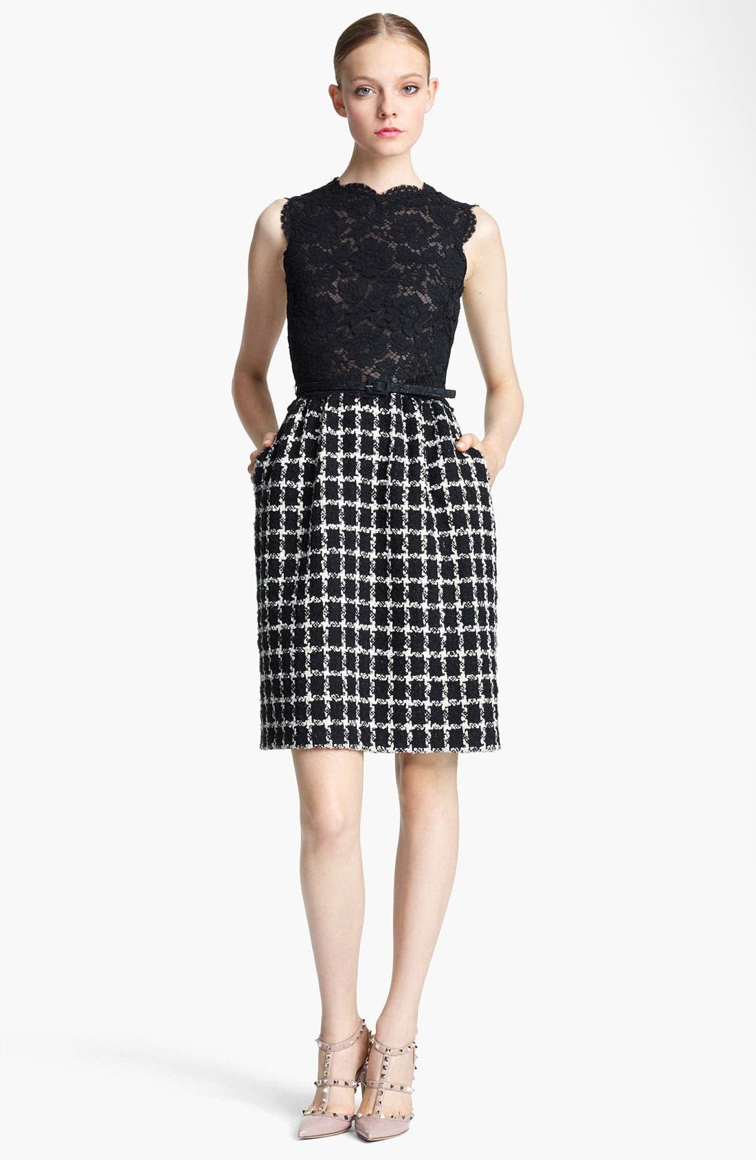 Main Image - Valentino Belted Lace & Tweed Dress