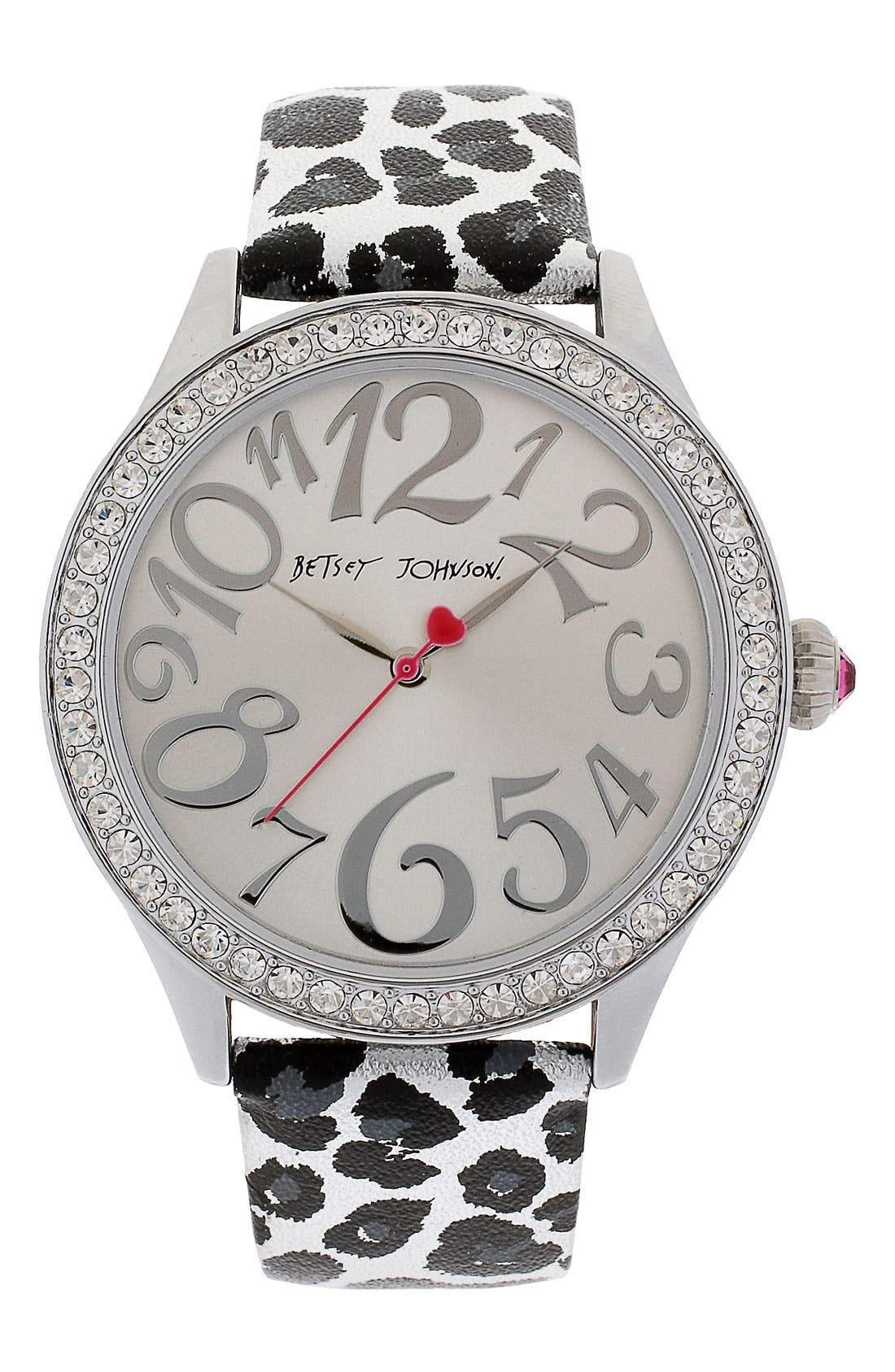 Alternate Image 1 Selected - Betsey Johnson Print Leather Strap Watch, 42mm