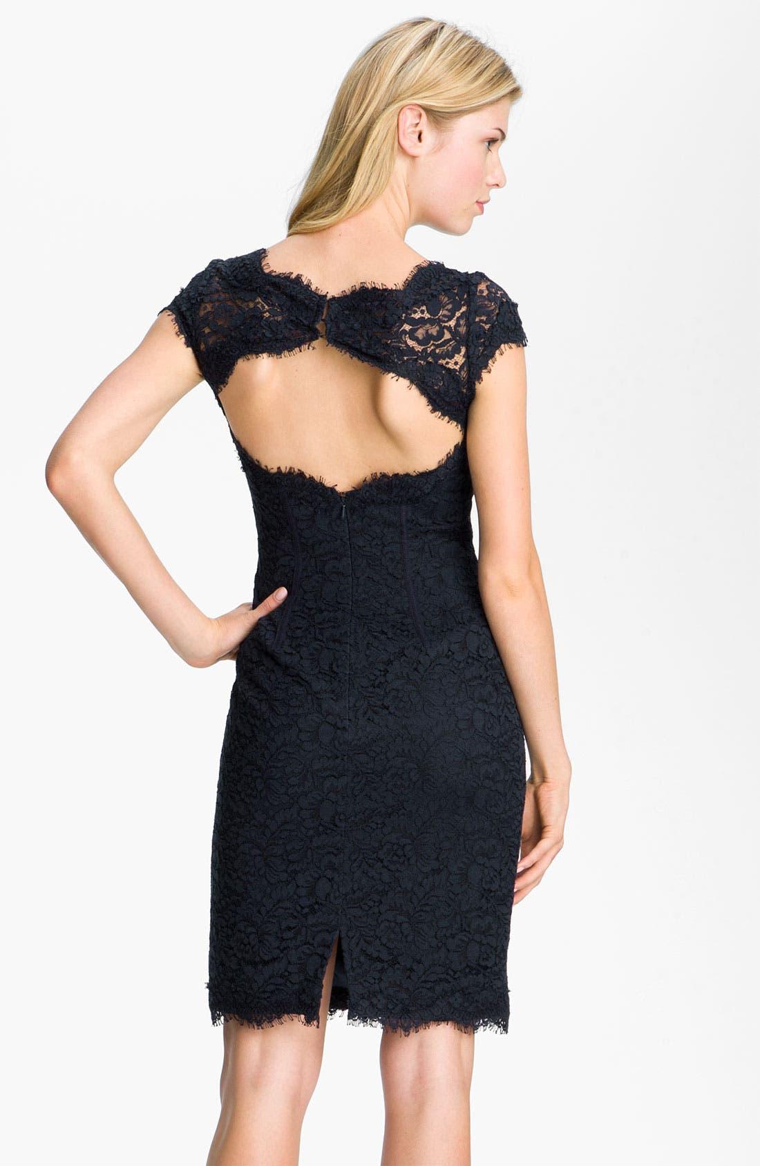 Alternate Image 2  - ML Monique Lhuillier Lace Overlay Sheath Dress