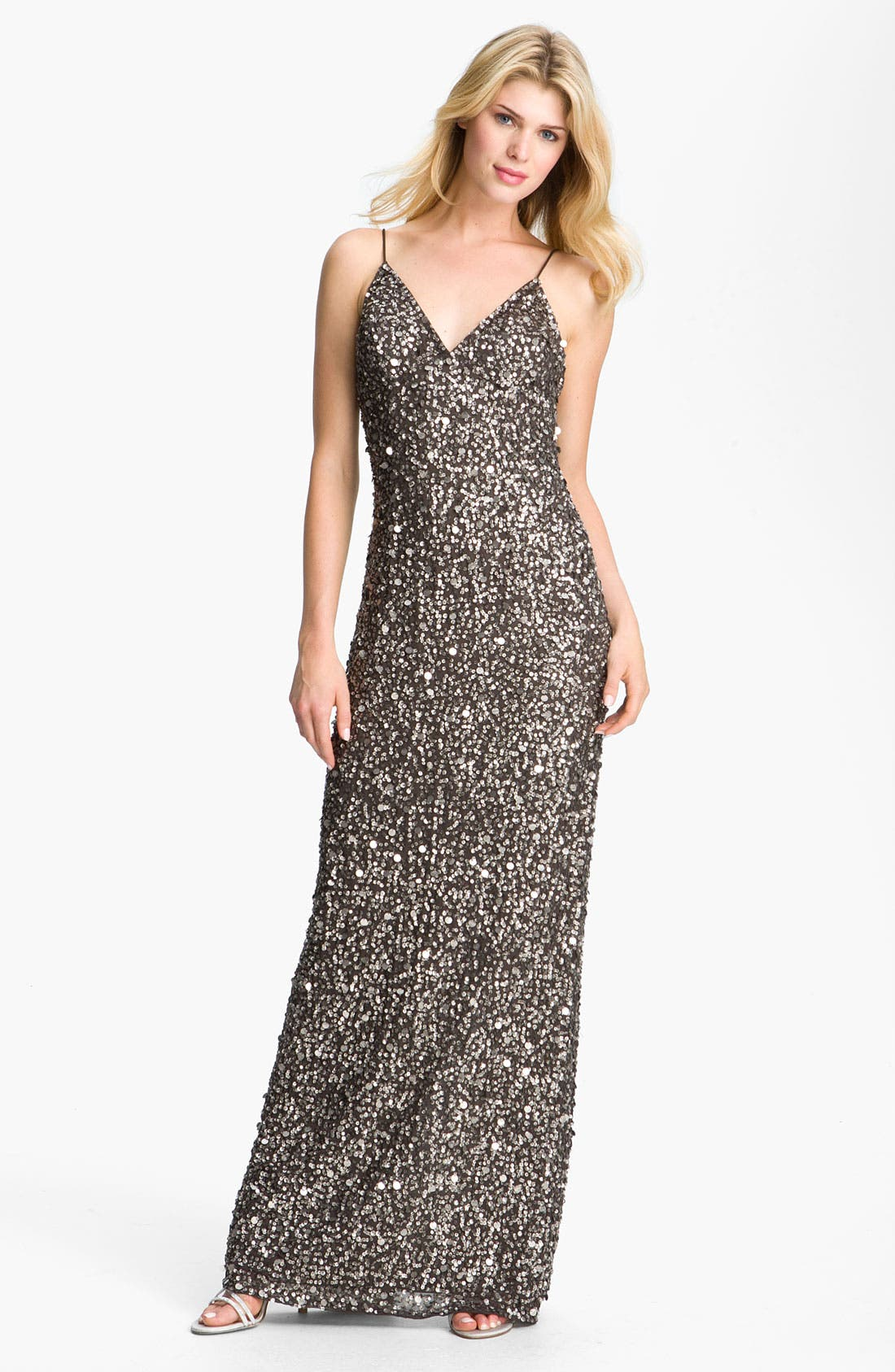 Alternate Image 1 Selected - Adrianna Papell Sequin Chiffon Gown