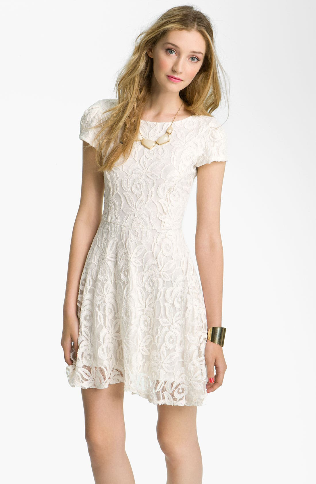 Main Image - Fire V-Back Lace Dress (Juniors)