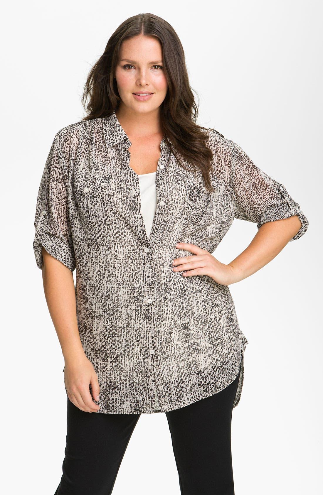 Main Image - DKNYC Tweed Print Button Up Shirt (Plus)