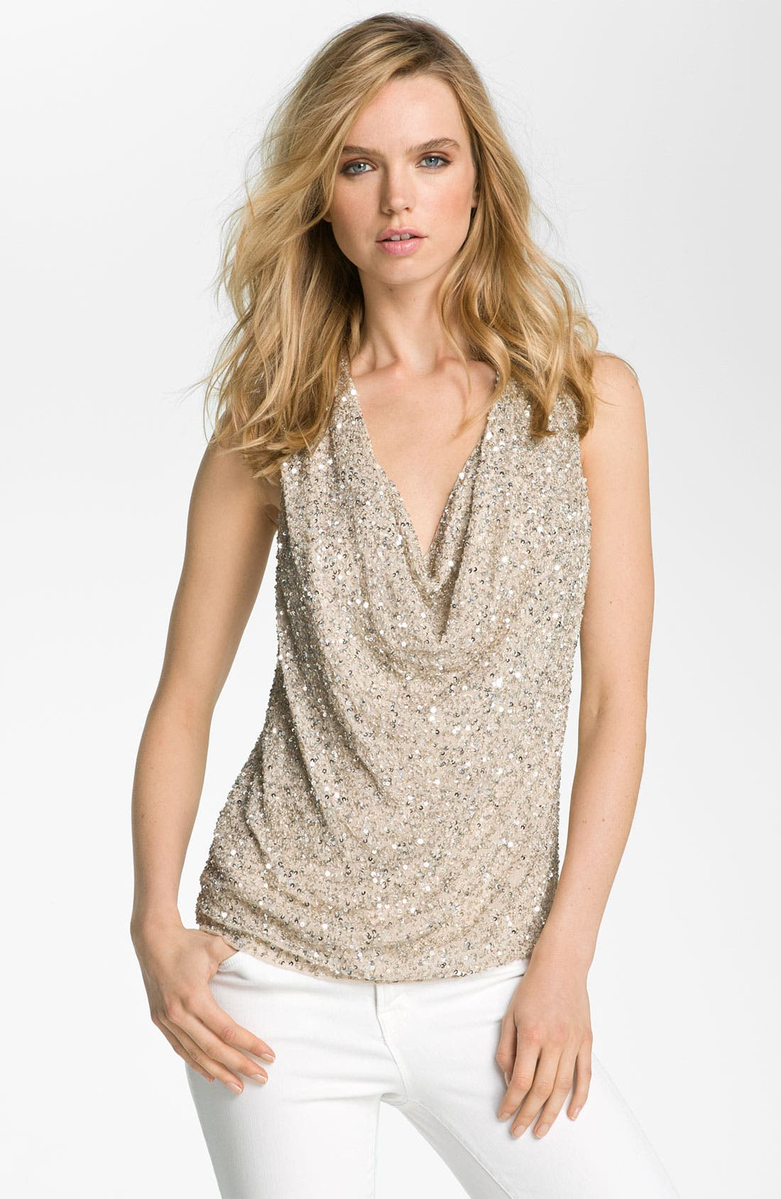 Alternate Image 1 Selected - Haute Hippie Sequin Cowl Neck Tank