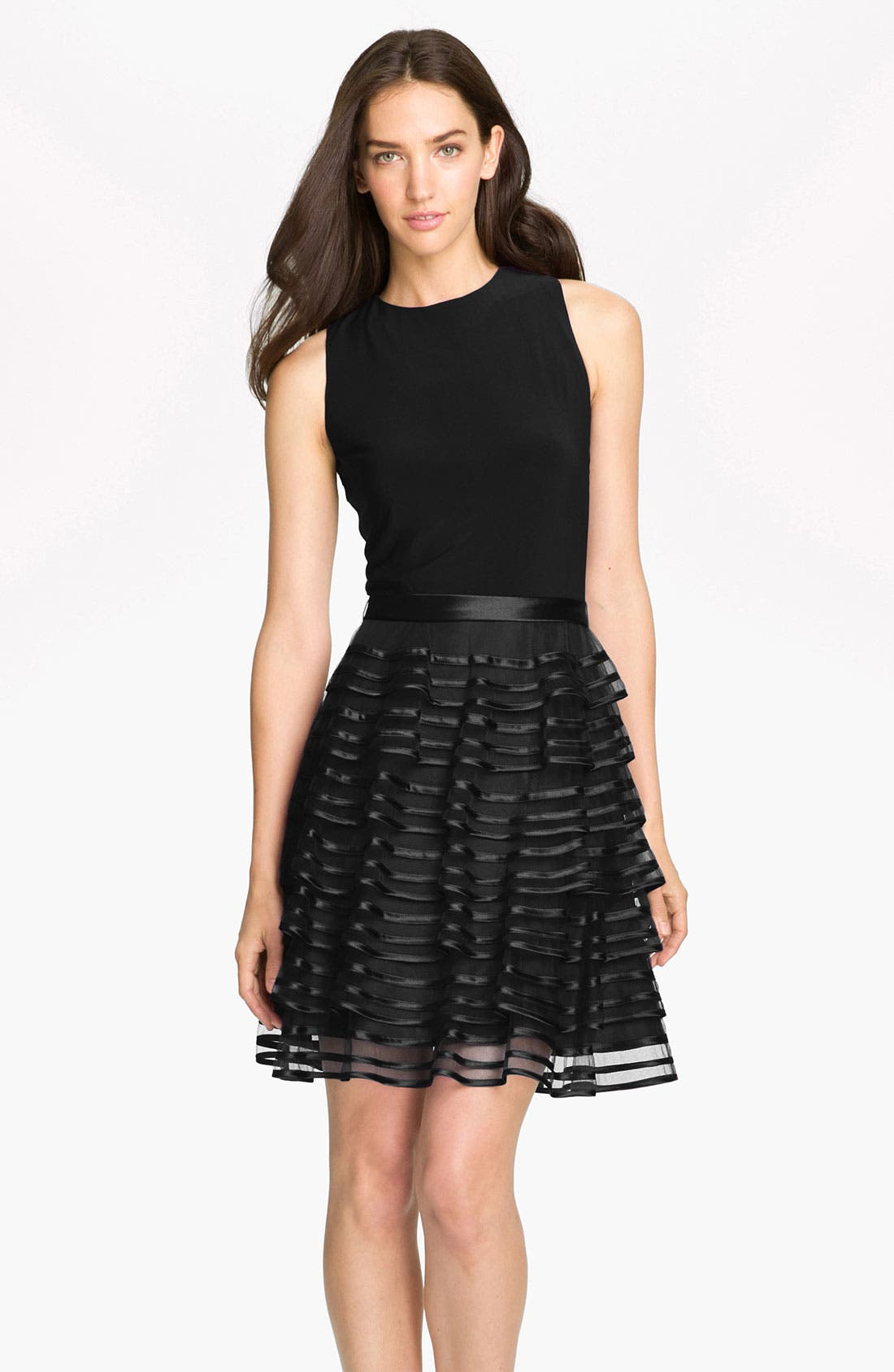 Main Image - Kathy Hilton Tiered Skirt Mixed Media Dress
