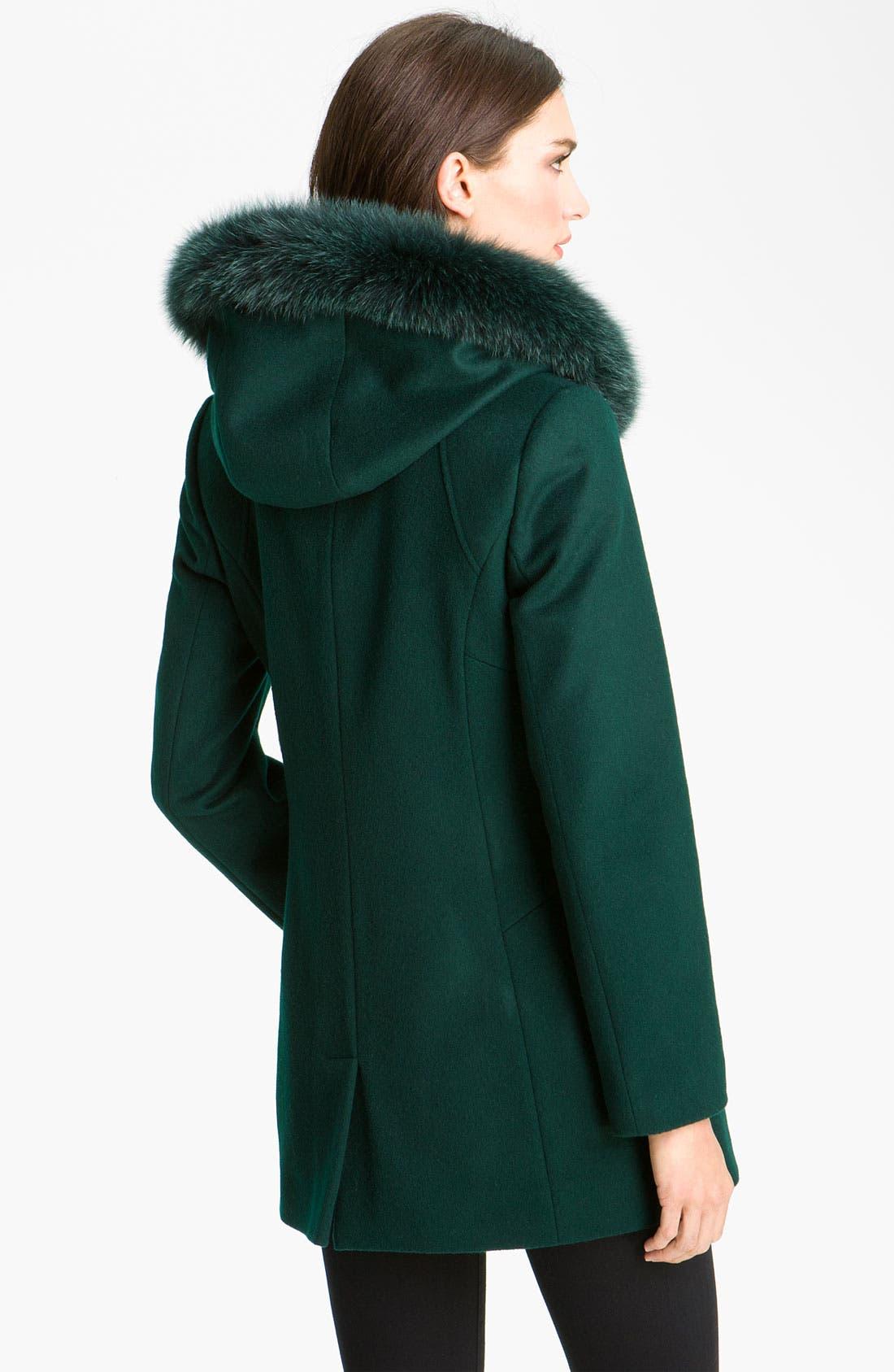 Alternate Image 2  - Sachi Genuine Fox Trim Hooded Coat