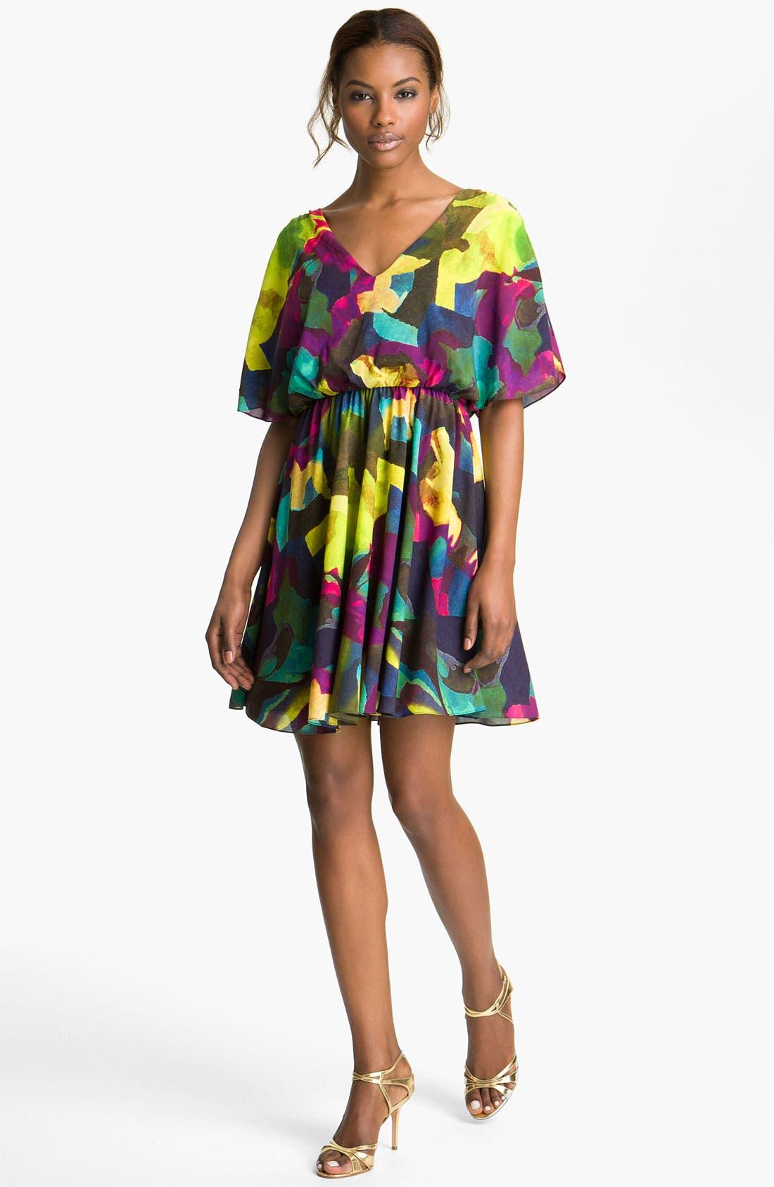 Main Image - Alice + Olivia 'Kyra' Print Silk Dress